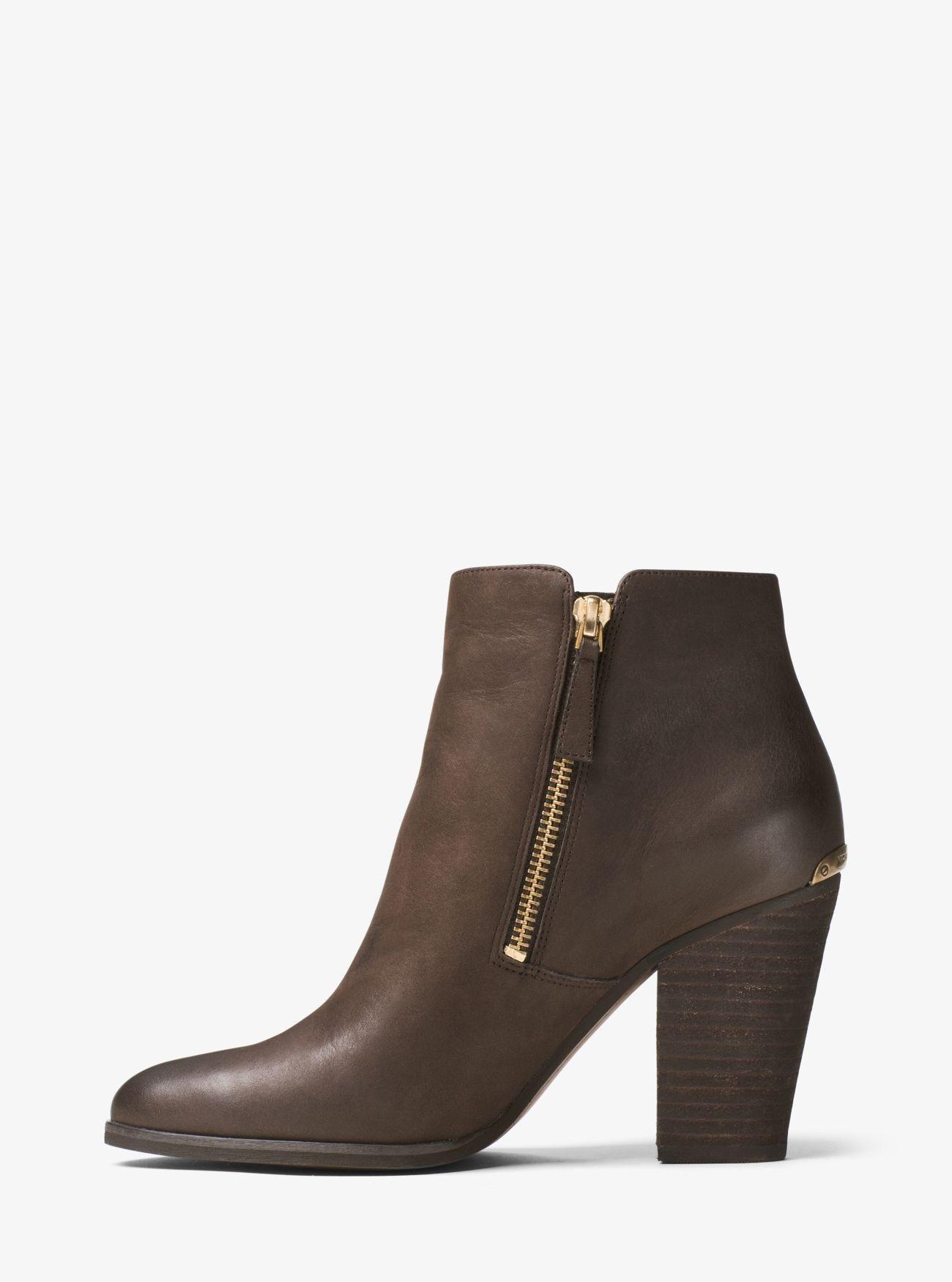 lyst michael kors denver leather ankle boots in brown. Black Bedroom Furniture Sets. Home Design Ideas