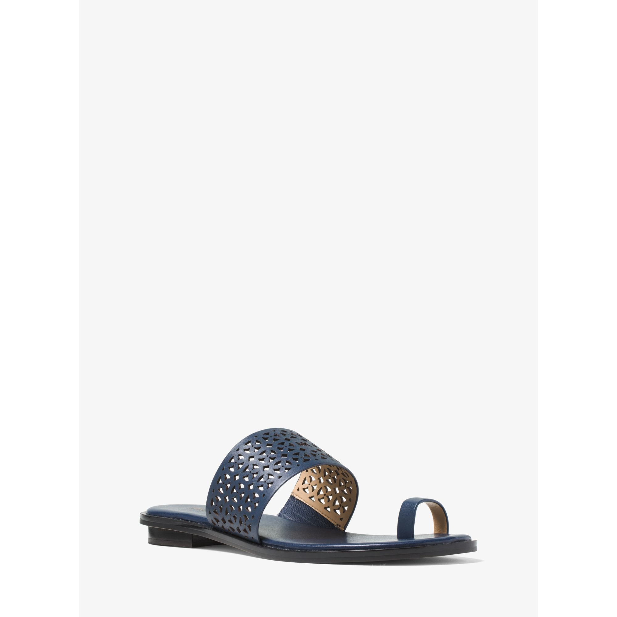 Michael Kors Sonya Perforated Leather Sandal In Blue Lyst