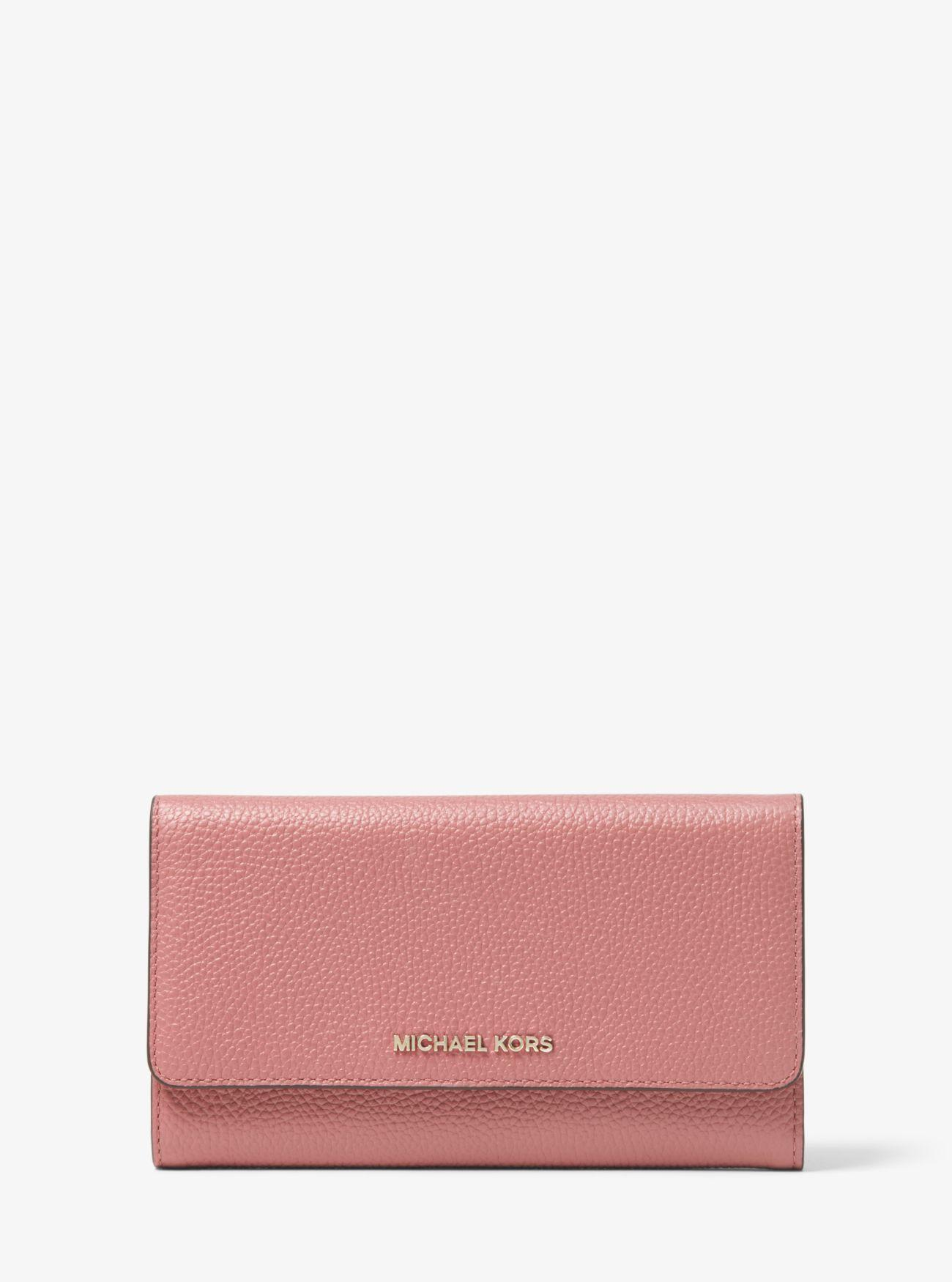 32bd9105551c Lyst - MICHAEL Michael Kors Leather Tri-fold Wallet in Pink