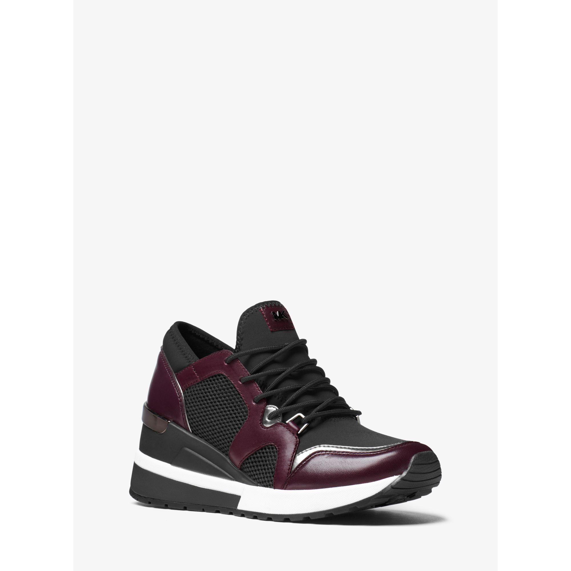 michael kors scout leather trim sneaker in black lyst. Black Bedroom Furniture Sets. Home Design Ideas