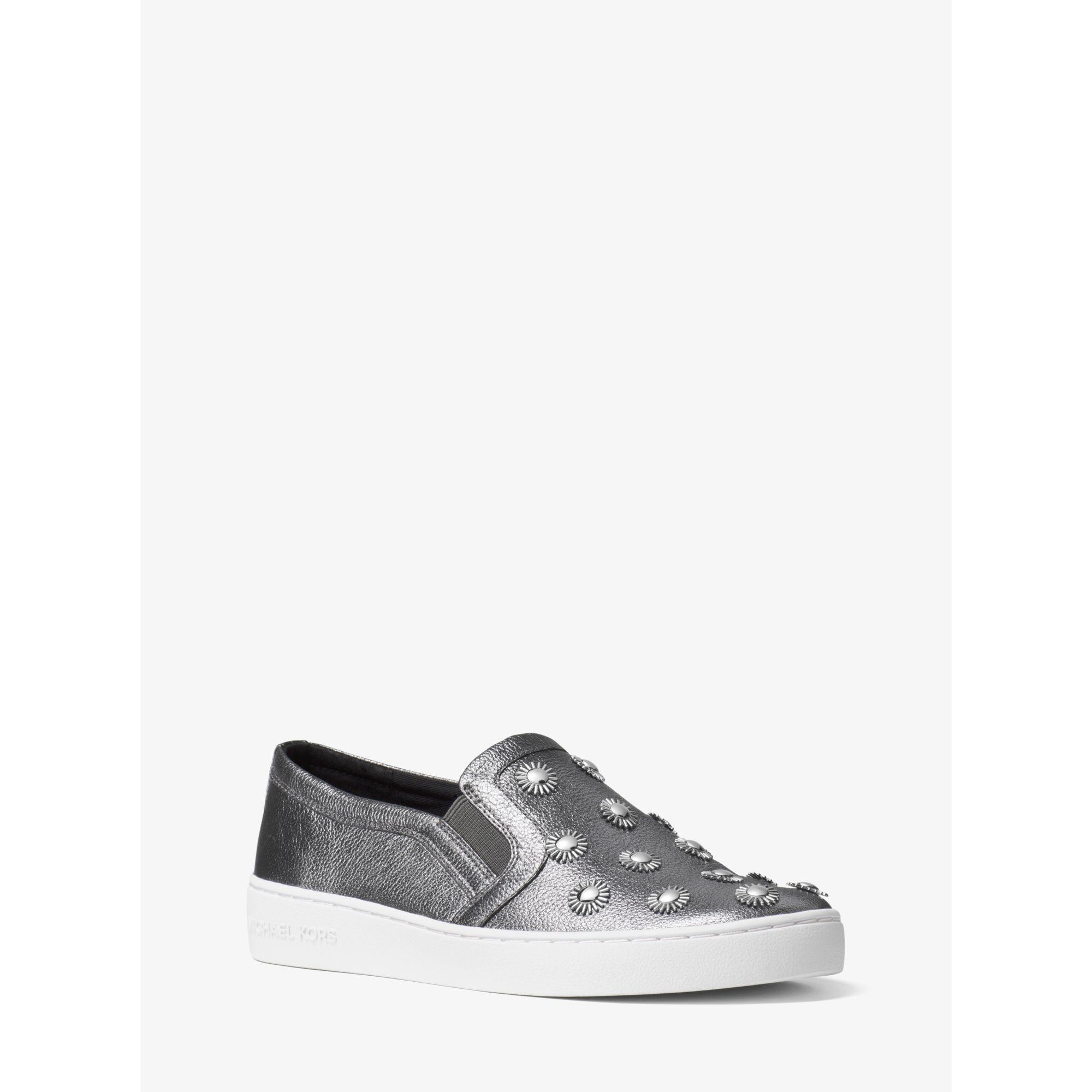 michael kors leo studded leather slip on sneaker for men lyst. Black Bedroom Furniture Sets. Home Design Ideas