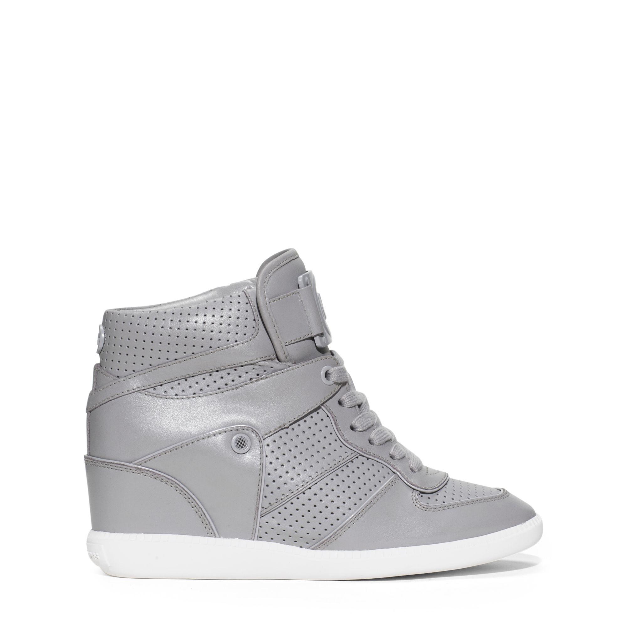 michael kors nikko high top leather sneaker in gray lyst. Black Bedroom Furniture Sets. Home Design Ideas