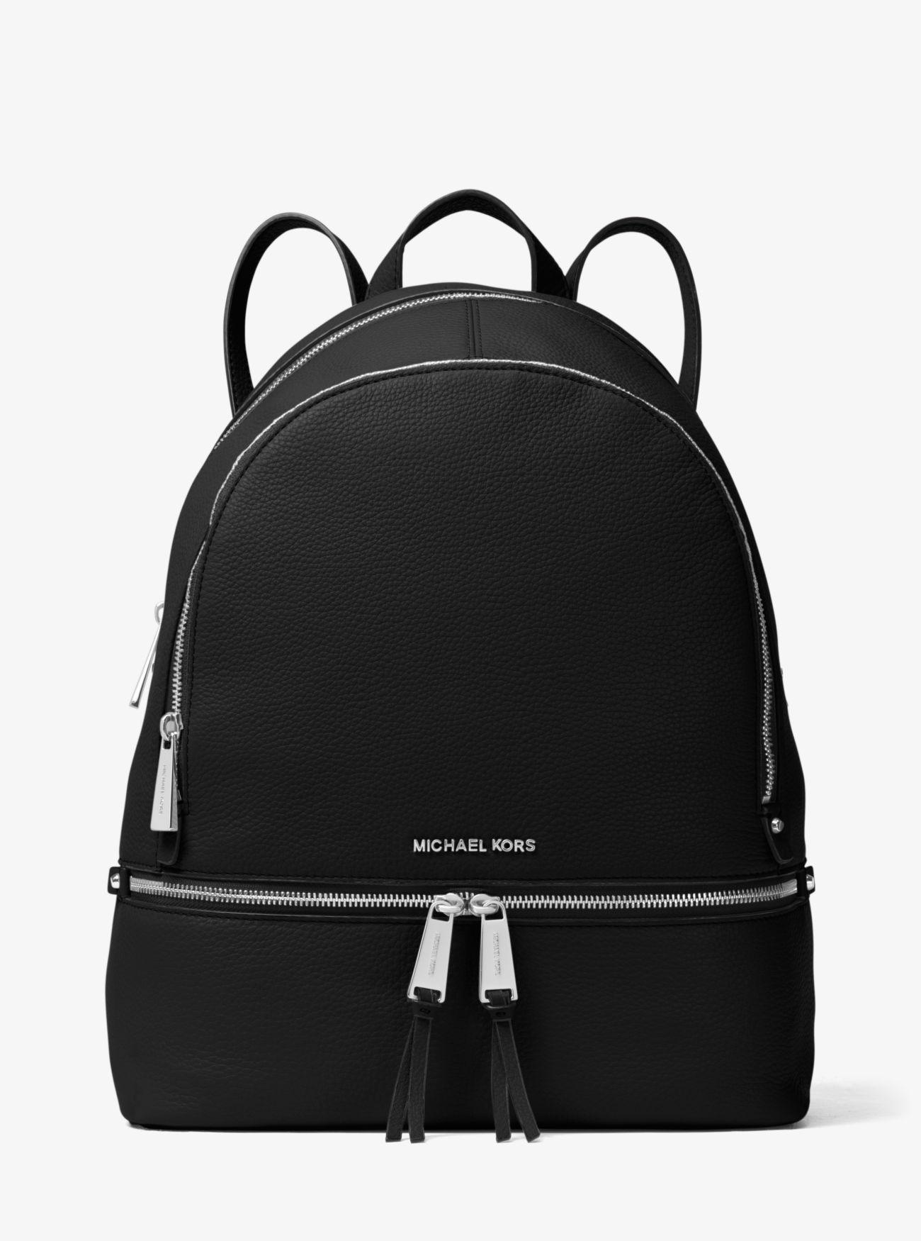a37595f8087e53 Michael Kors - Black Rhea Large Leather Backpack - Lyst. View fullscreen