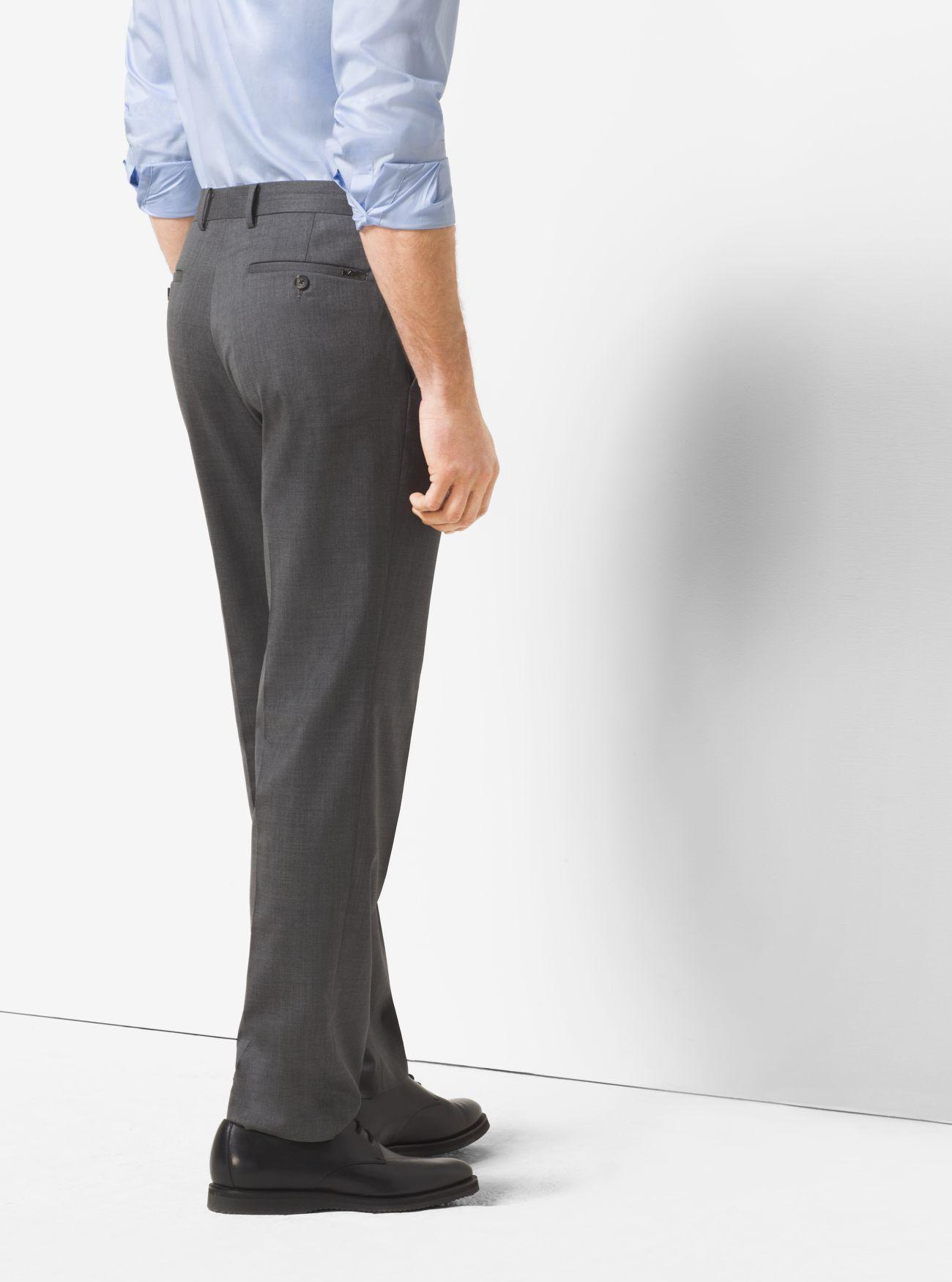 Michael Kors Tailored/classic-fit Wool Trousers in Grey for Men
