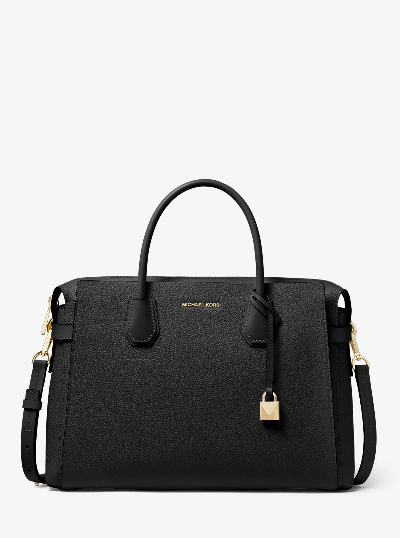 1b5cdd7cdc2f MICHAEL Michael Kors. Women's Black Mercer Large Pebbled Leather Belted  Satchel