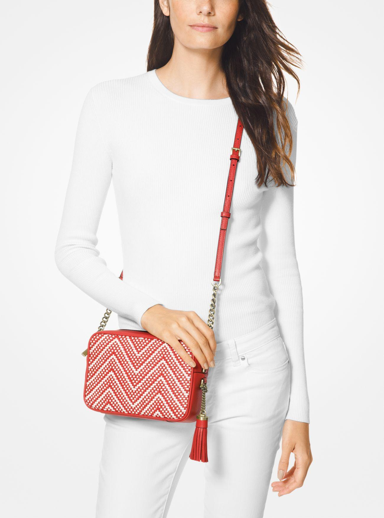 c28cacd46 Lyst - MICHAEL Michael Kors Ginny Medium Woven Leather Crossbody in Red