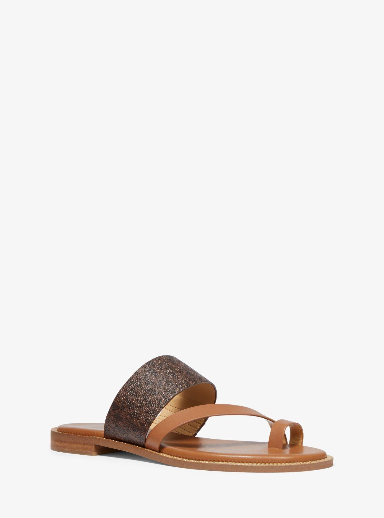 7a8c4e3d7680 Lyst - Michael Kors Pratt Logo And Leather Sandal in Brown