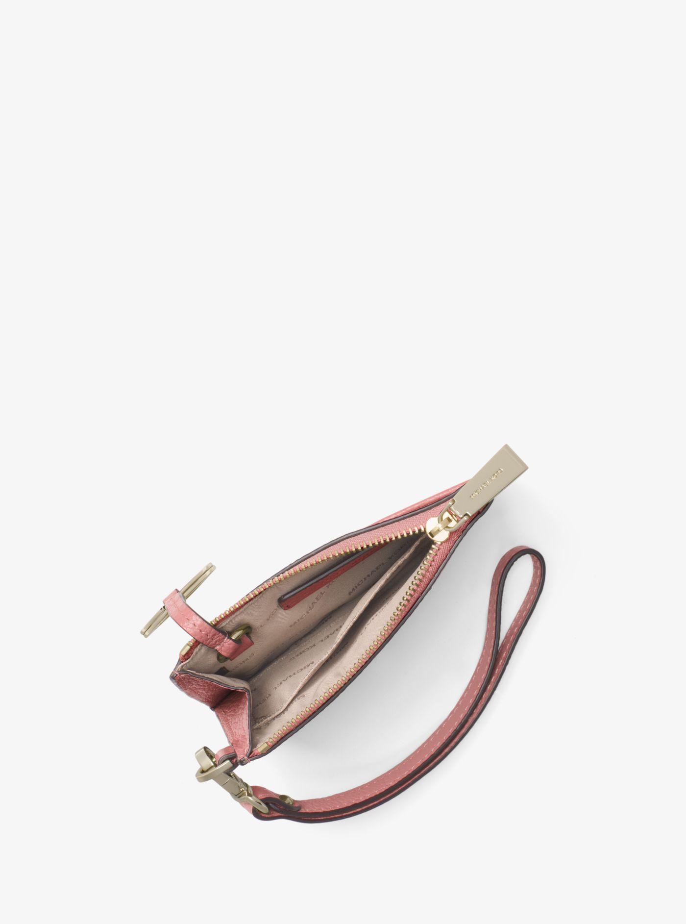 Porte-monnaie en cuir grainé Michael Kors en coloris Rose