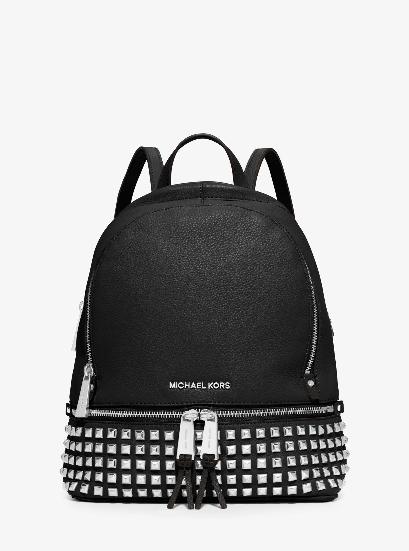2b81d8295c56 Lyst - Michael Kors Rhea Small Studded Leather Backpack in Black ...