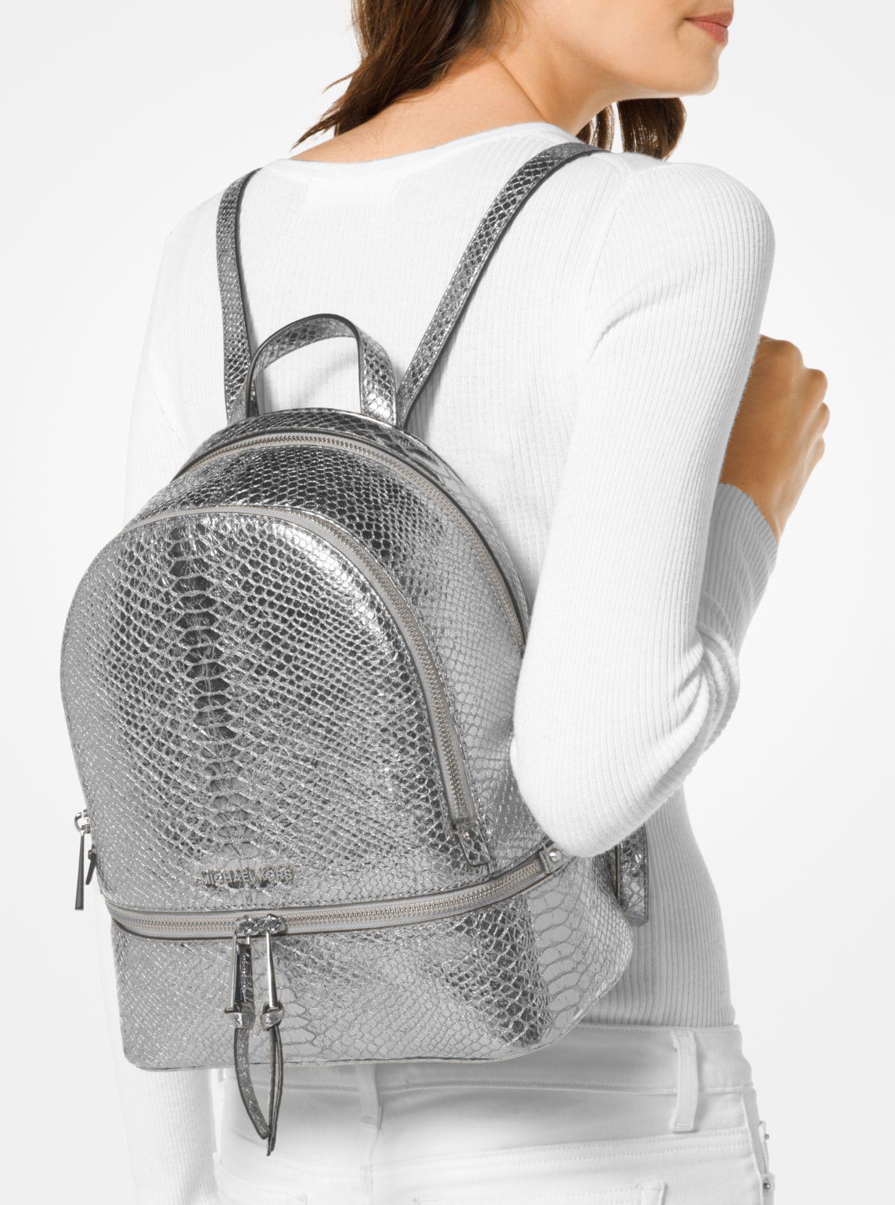 d2b6e562c0cb Michael Kors Rhea Medium Metallic Embossed-leather Backpack in ...
