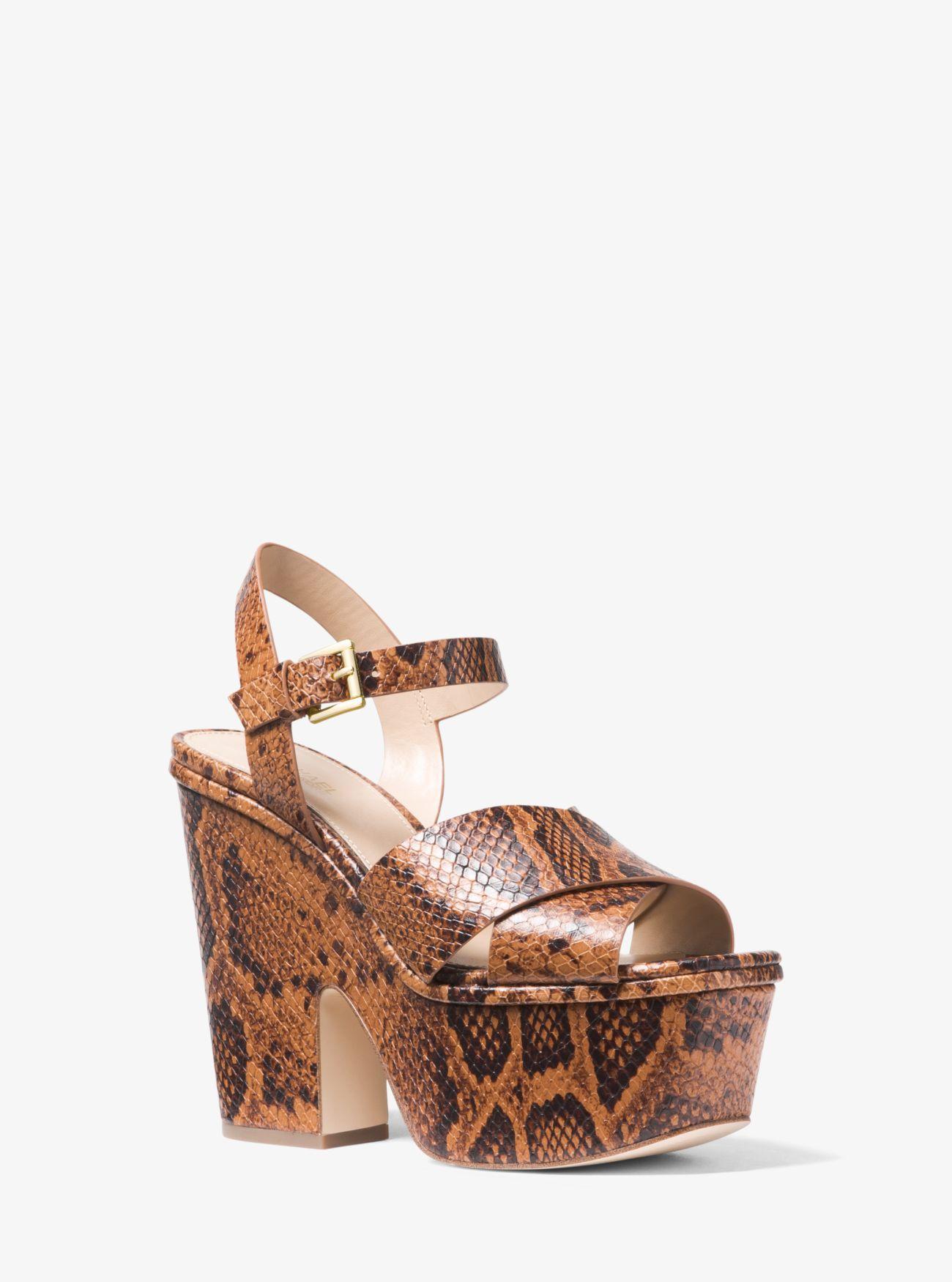 04b9310d3fb5 MICHAEL Michael Kors. Women s Brown Divia Snake-embossed Leather Platform  Sandal