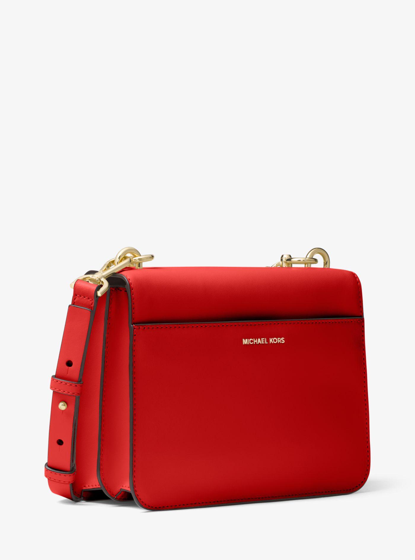 4c094dddcfbd Lyst - Michael Kors Mott Leather Crossbody in Red