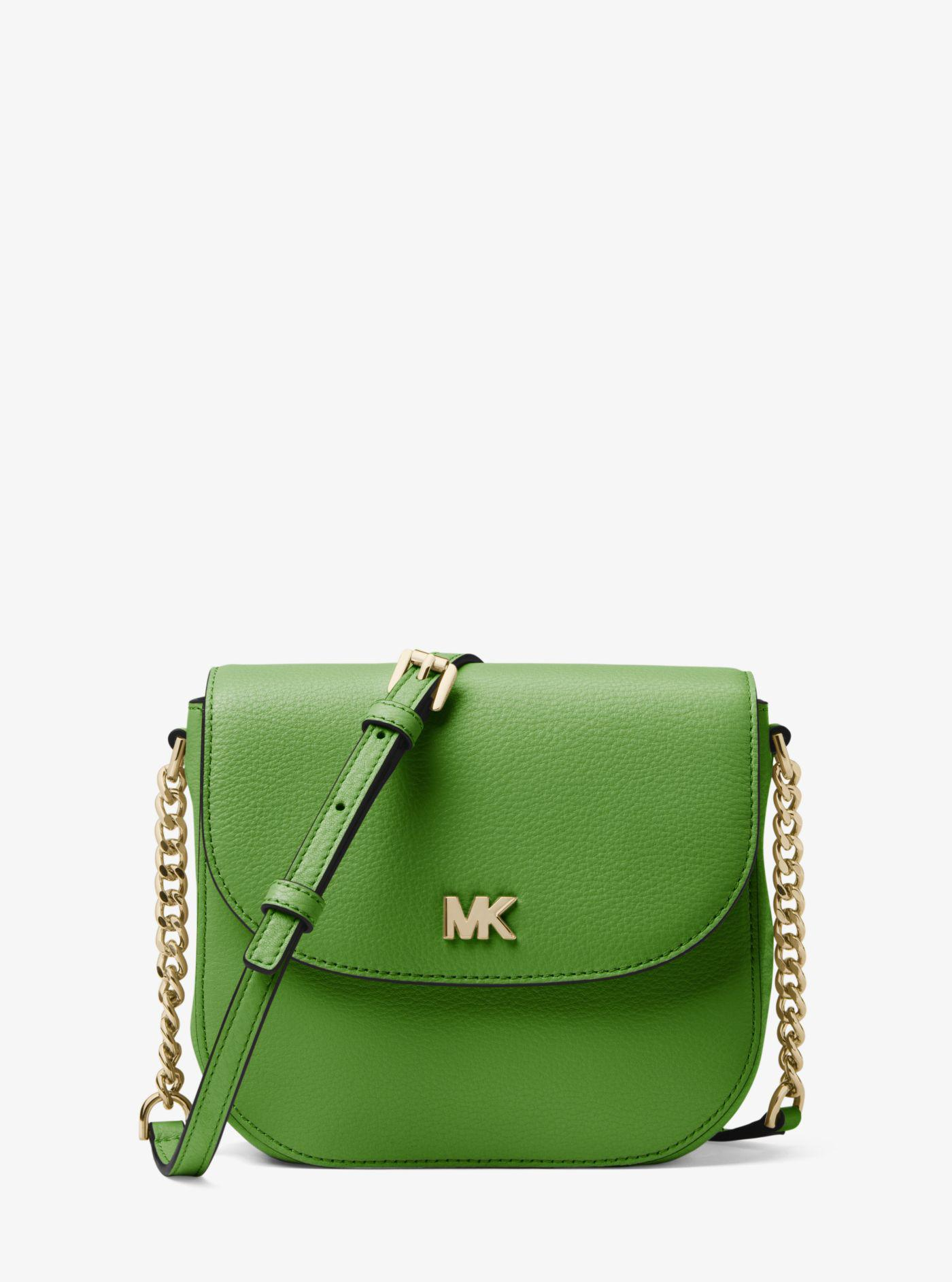3d6f39d49f6e Michael Kors Mott Pebbled Leather Dome Crossbody in Green - Lyst