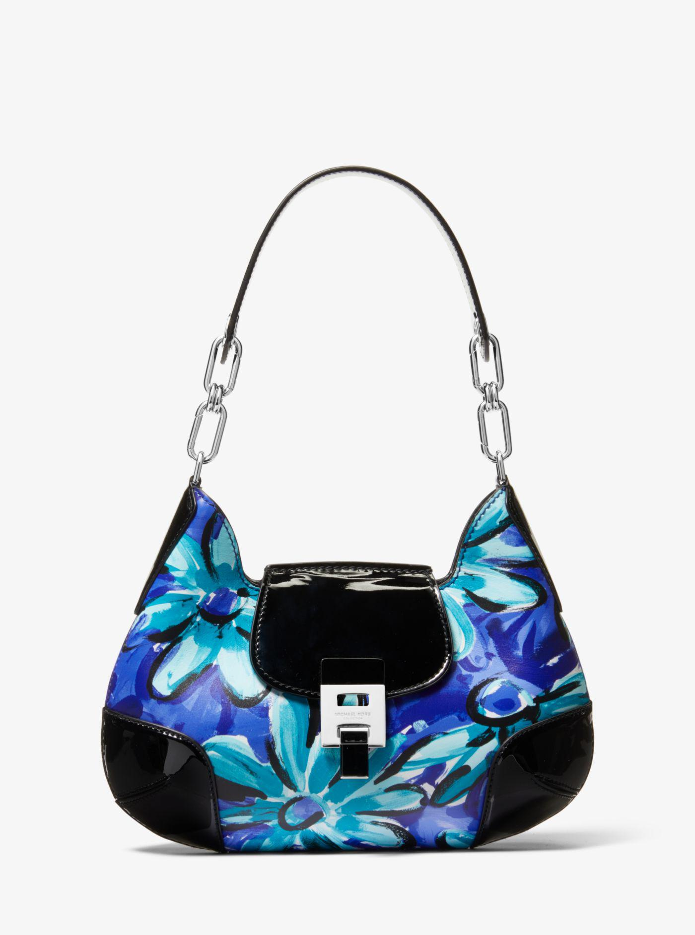 b9463da29bbe Michael Kors. Women's Blue Bancroft Medium Daisy Calf Leather Shoulder Bag