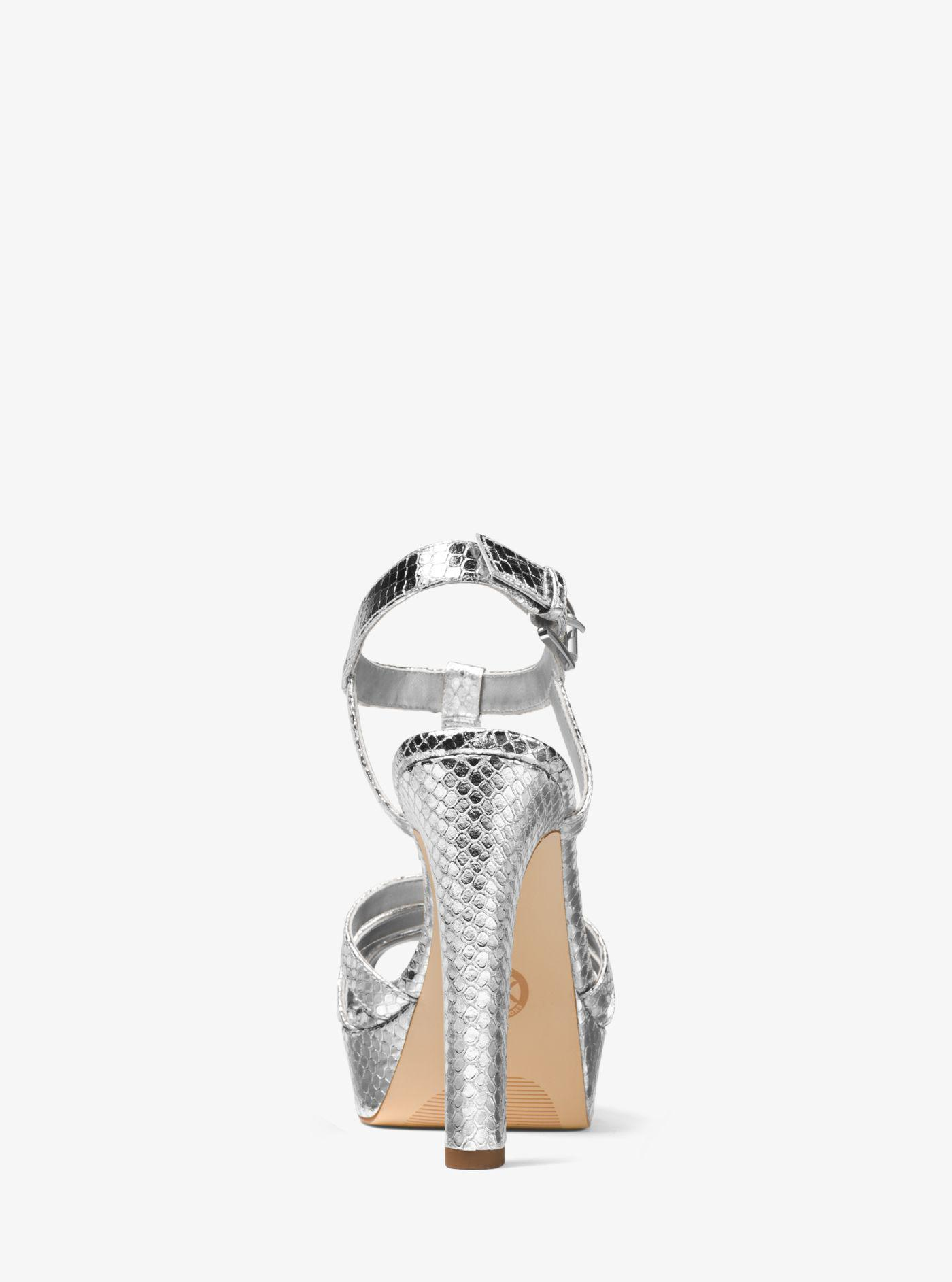 454462f9f2f Lyst - Michael Kors Catalina Metallic Embossed-leather Sandal in ...
