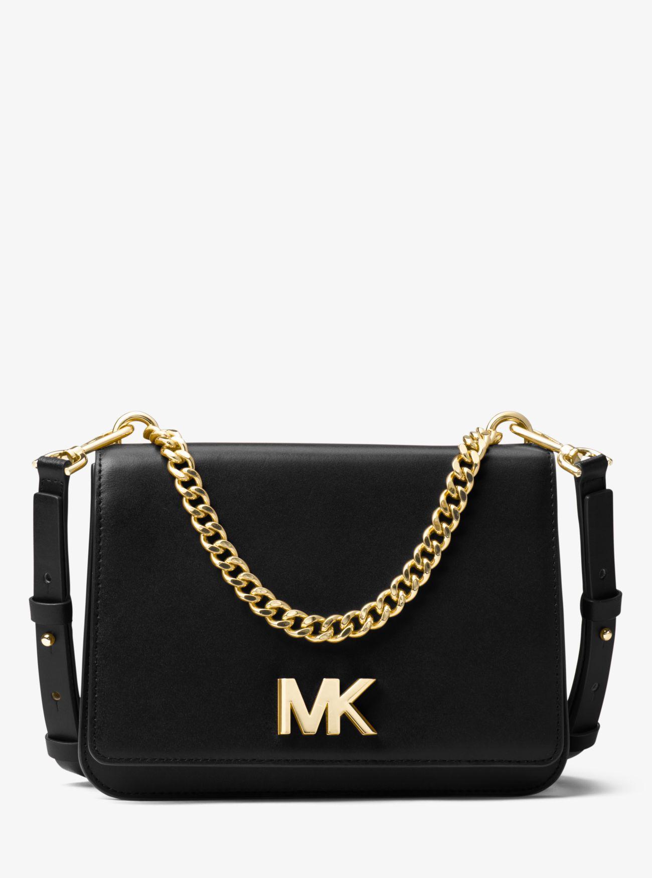 b2e48e43391e Michael Kors Mott Leather Crossbody Bag in Black - Lyst