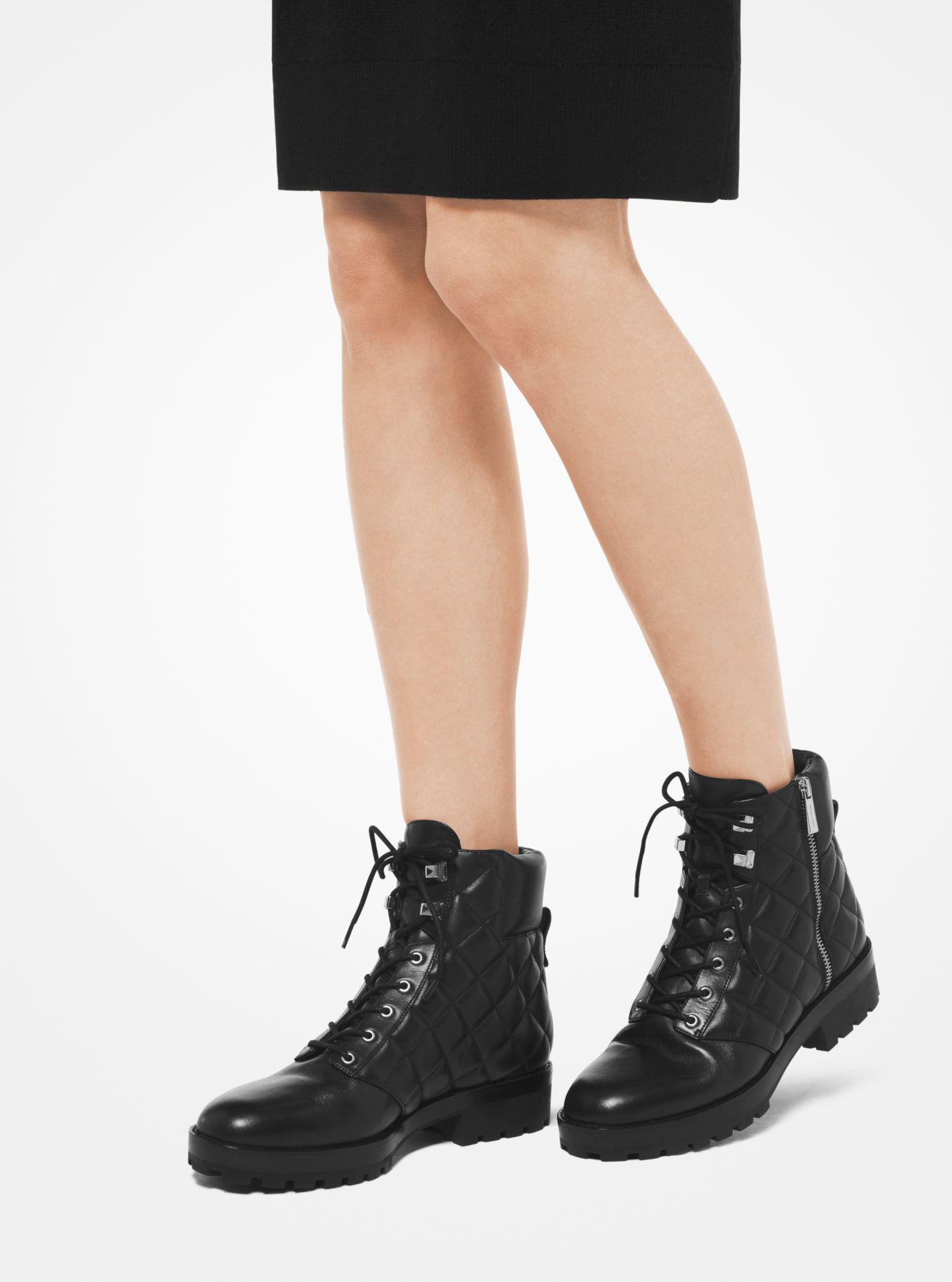 ec3681b2723 MICHAEL Michael Kors Rosario Leather Combat Boot in Black - Lyst