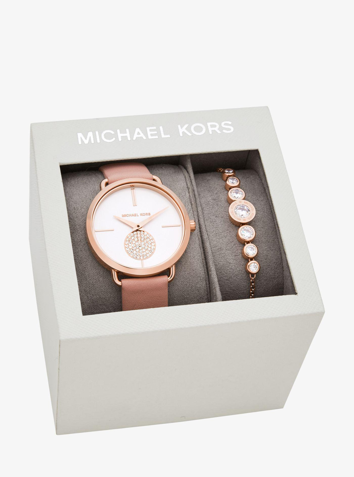 Michael Kors Portia Rose Gold Tone Watch And Bracelet Set In