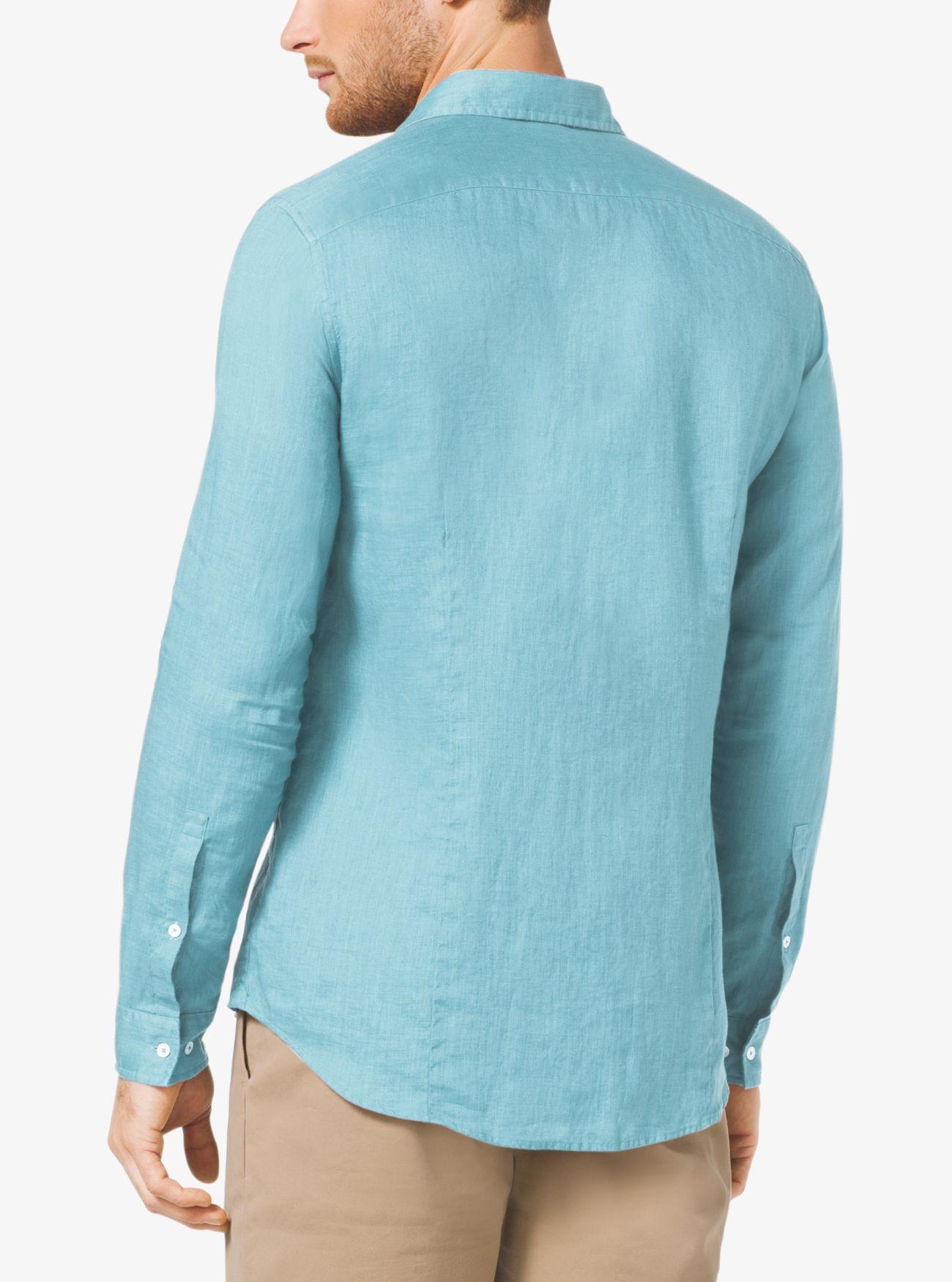 Michael Kors Slim-fit Linen Shirt in Blue for Men