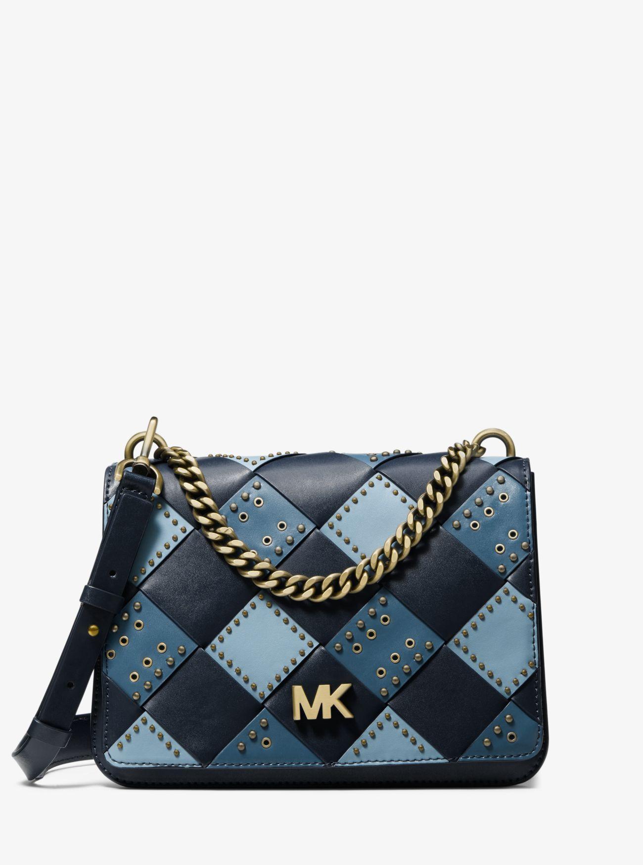 751ddd4912a9c3 MICHAEL Michael Kors. Women's Blue Mott Large Embellished Patchwork Leather  Crossbody Bag