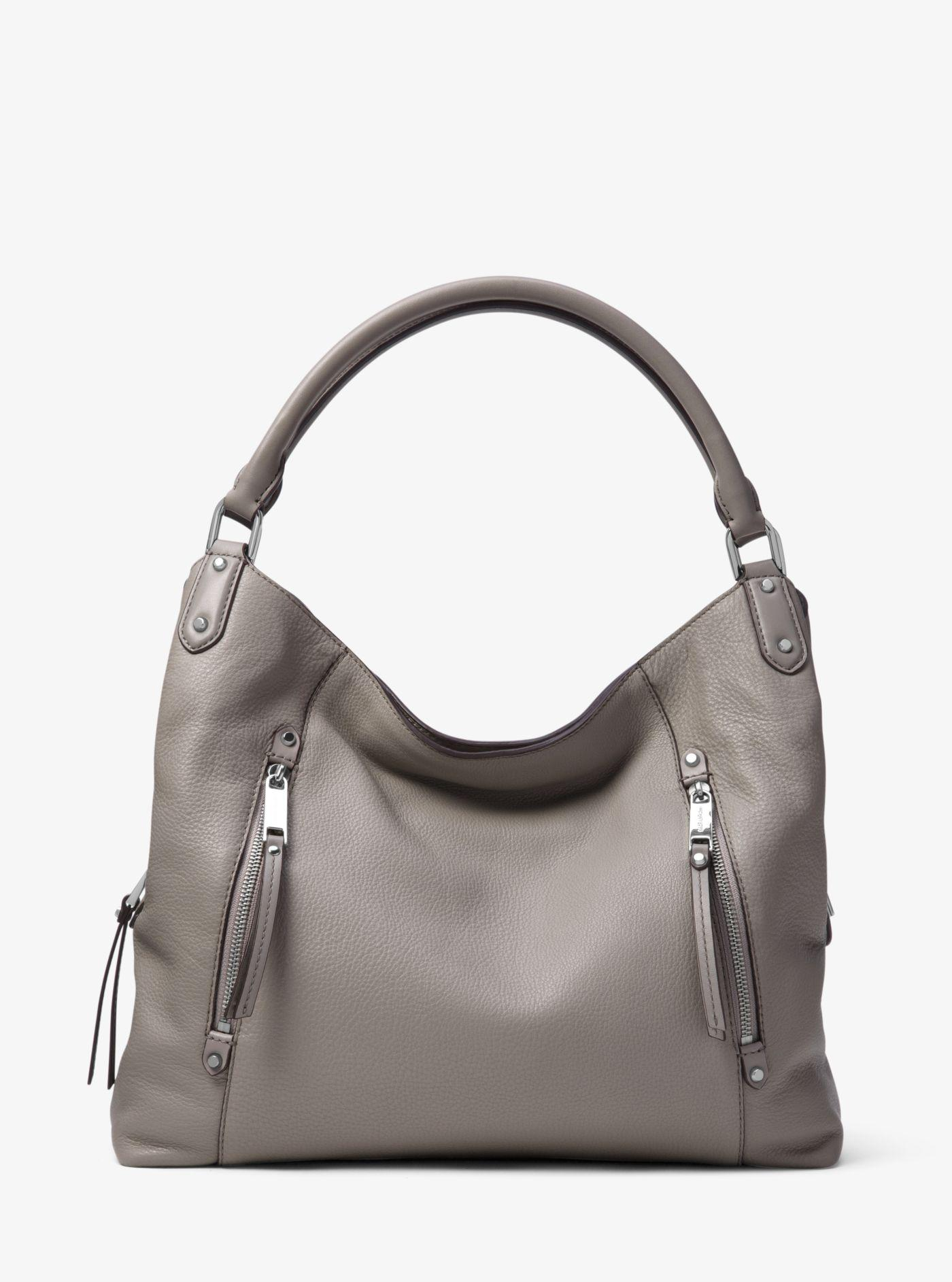 65ccb824ca84 Lyst - Michael Kors Evie Large Leather Shoulder Bag in Gray