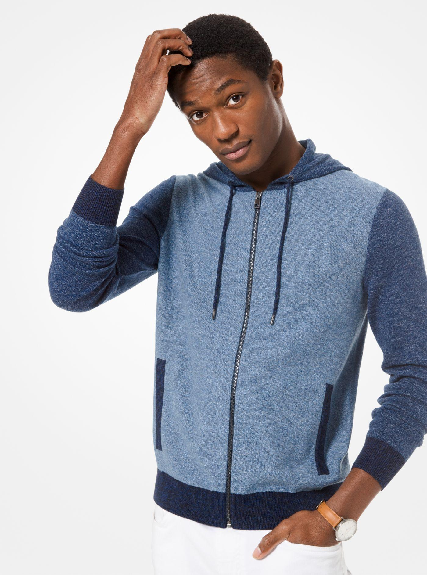 d29b40b2f35a3 Lyst - Michael Kors Color-block Cotton Zip-up Hoodie in Blue for Men
