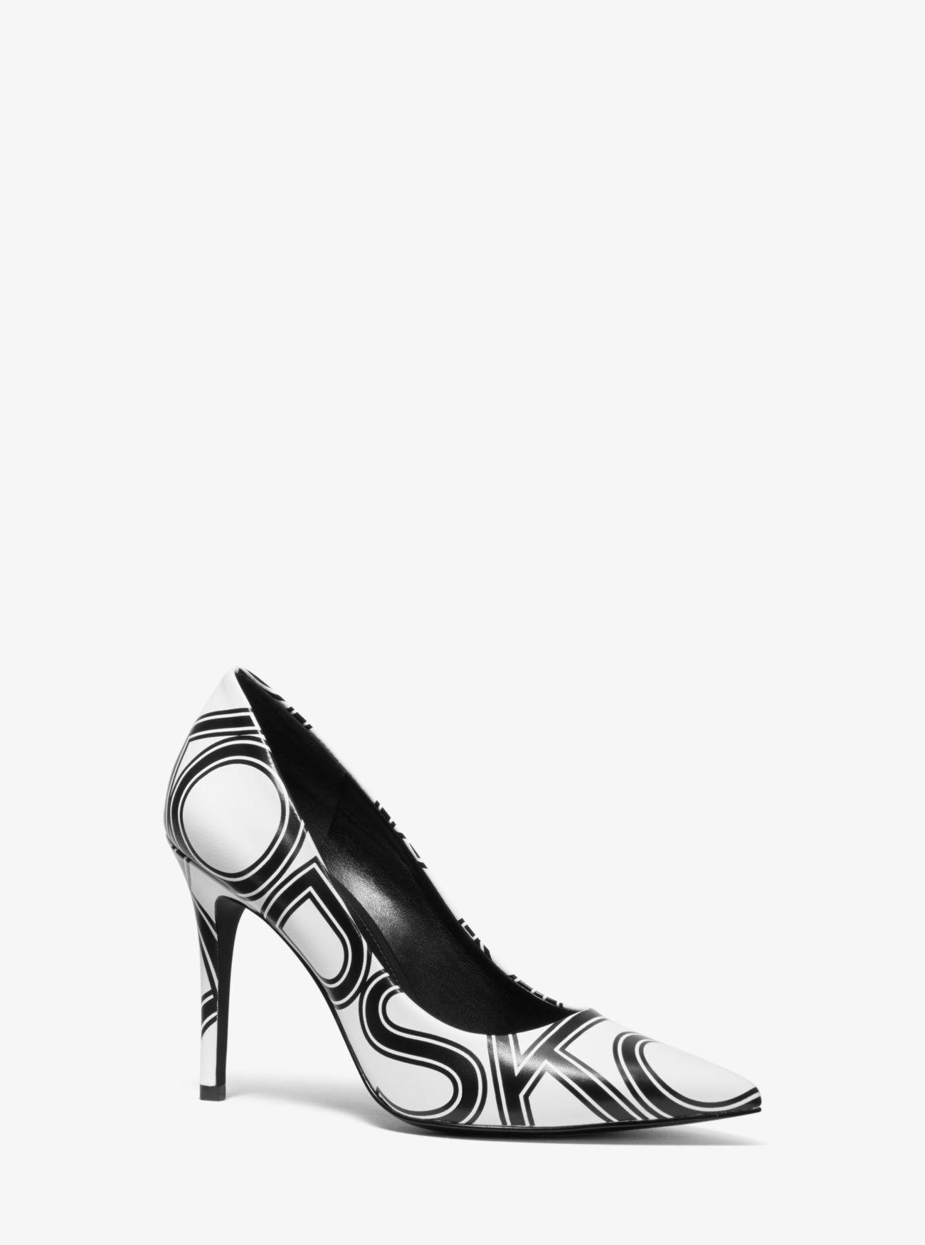 84d8a7f1ed6 Lyst - Michael Kors Claire Graphic Logo Leather Pump in Black
