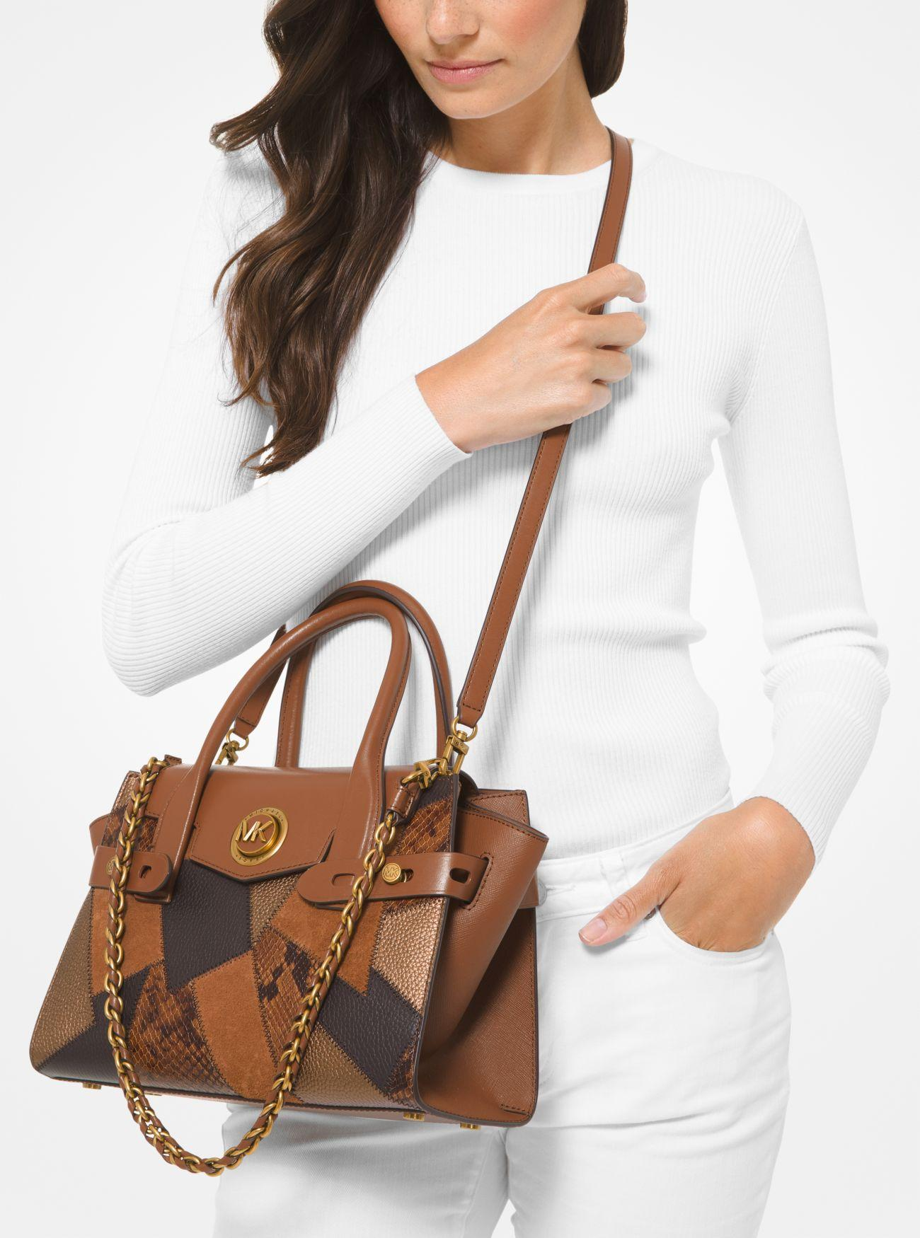 Mk Carmen Small Patchwork Embossed Leather Belted Satchel