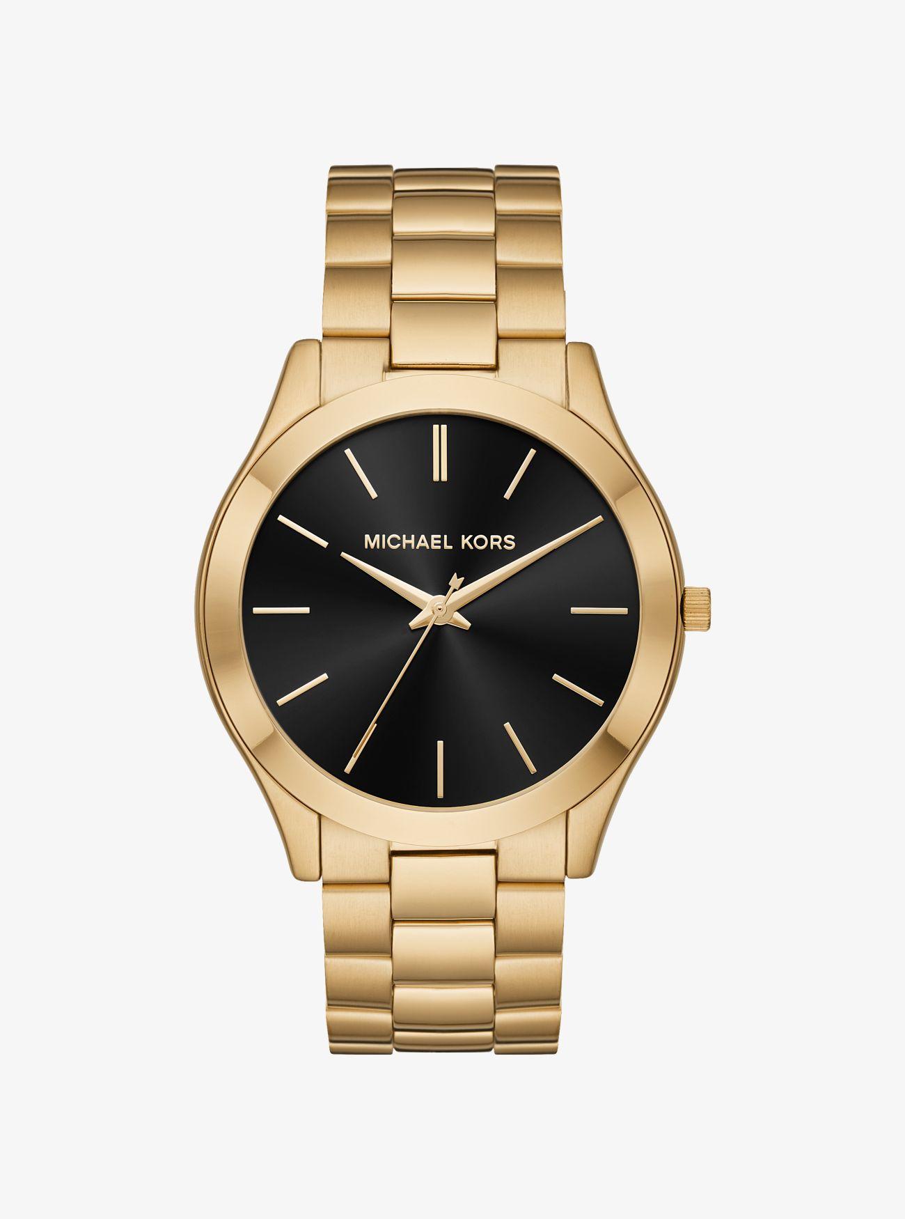 c354520d7841 Michael Kors - Metallic Oversized Slim Runway Gold-tone Watch for Men - Lyst.  View fullscreen