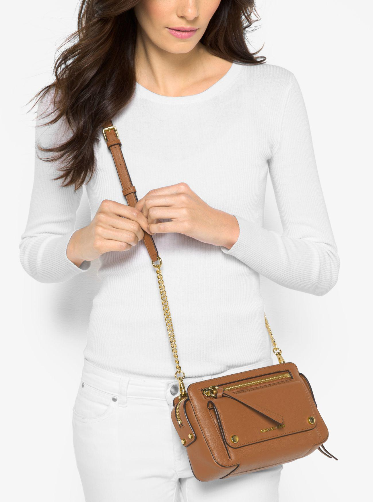 2032c18f01c8 Lyst - Michael Kors Mitchell Medium Leather Crossbody Bag