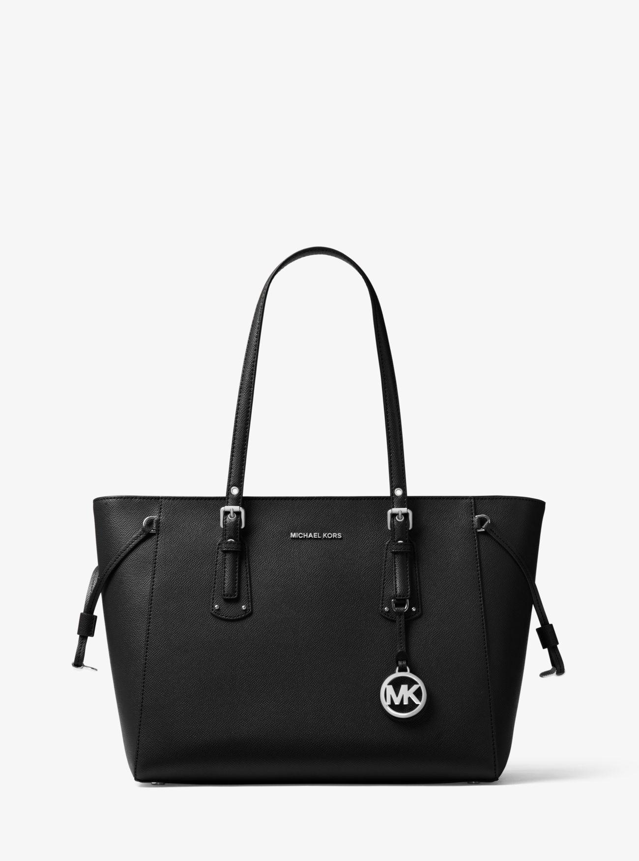 0533a69f937493 Michael Kors - Black Voyager Medium Crossgrain Leather Tote Bag - Lyst.  View fullscreen