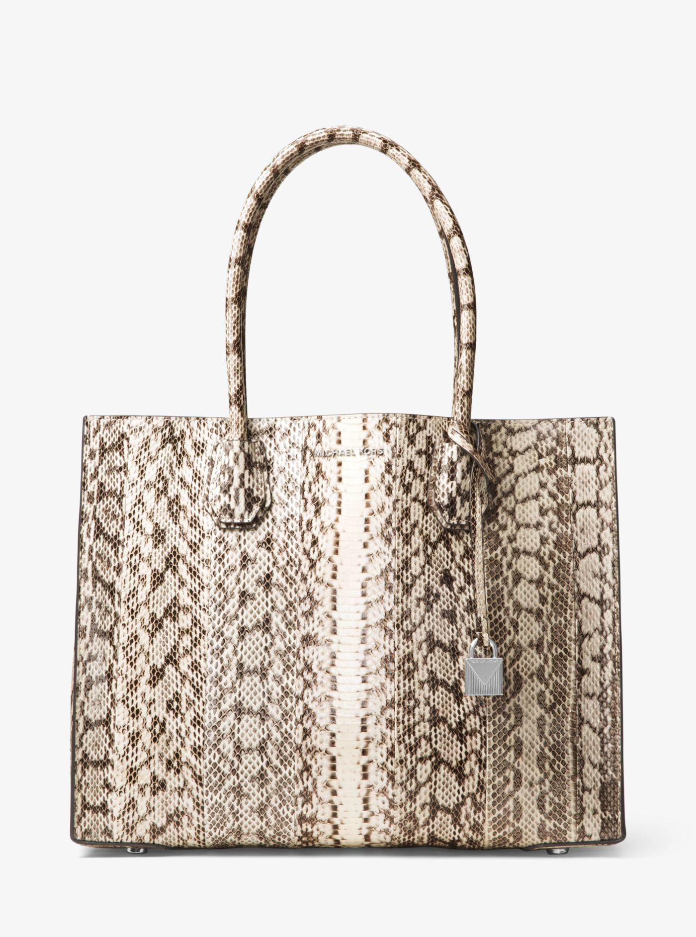 925e7aa04d7d Lyst - Michael Kors Mercer Extra-large Snakeskin Tote in Natural
