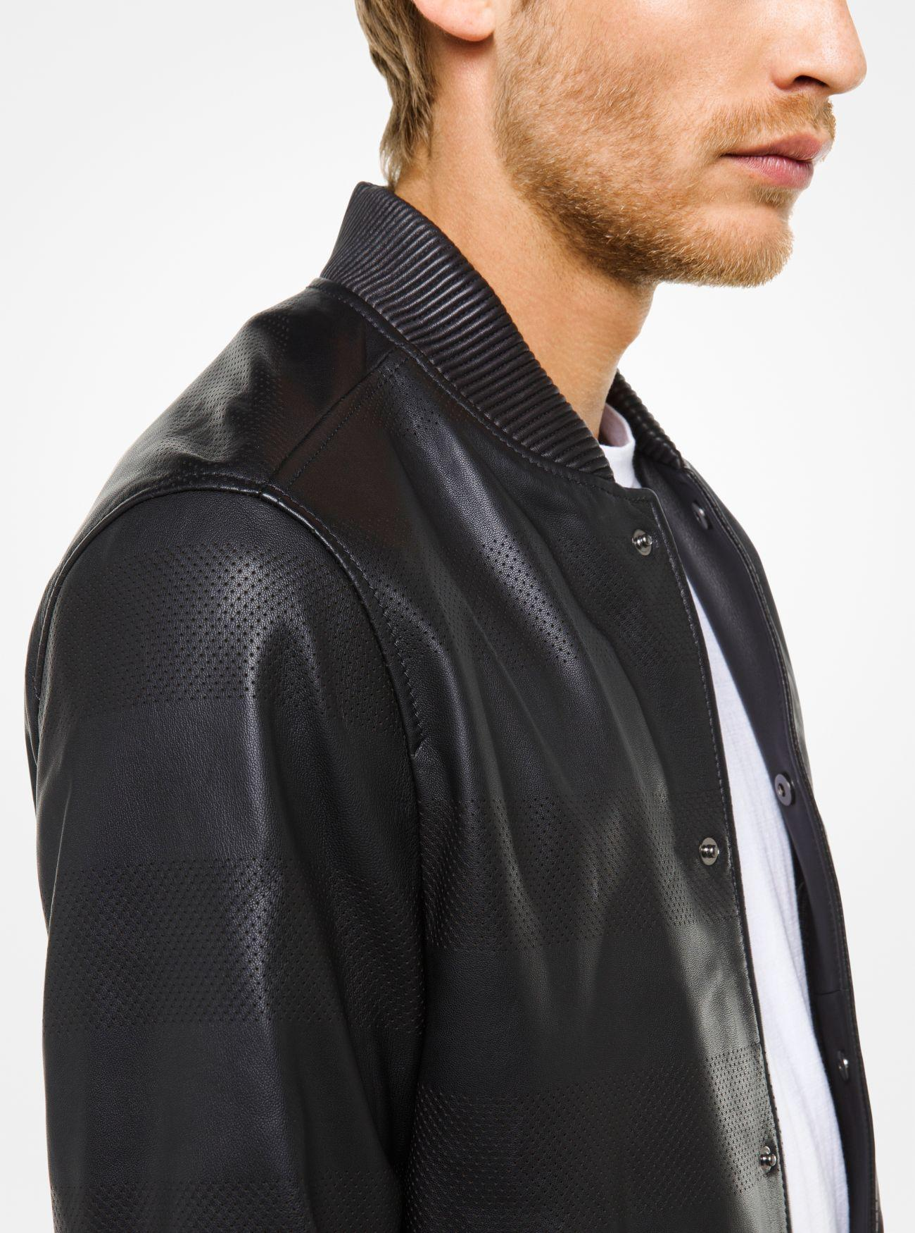 Michael Kors Perforated Leather Bomber Jacket in Black for Men