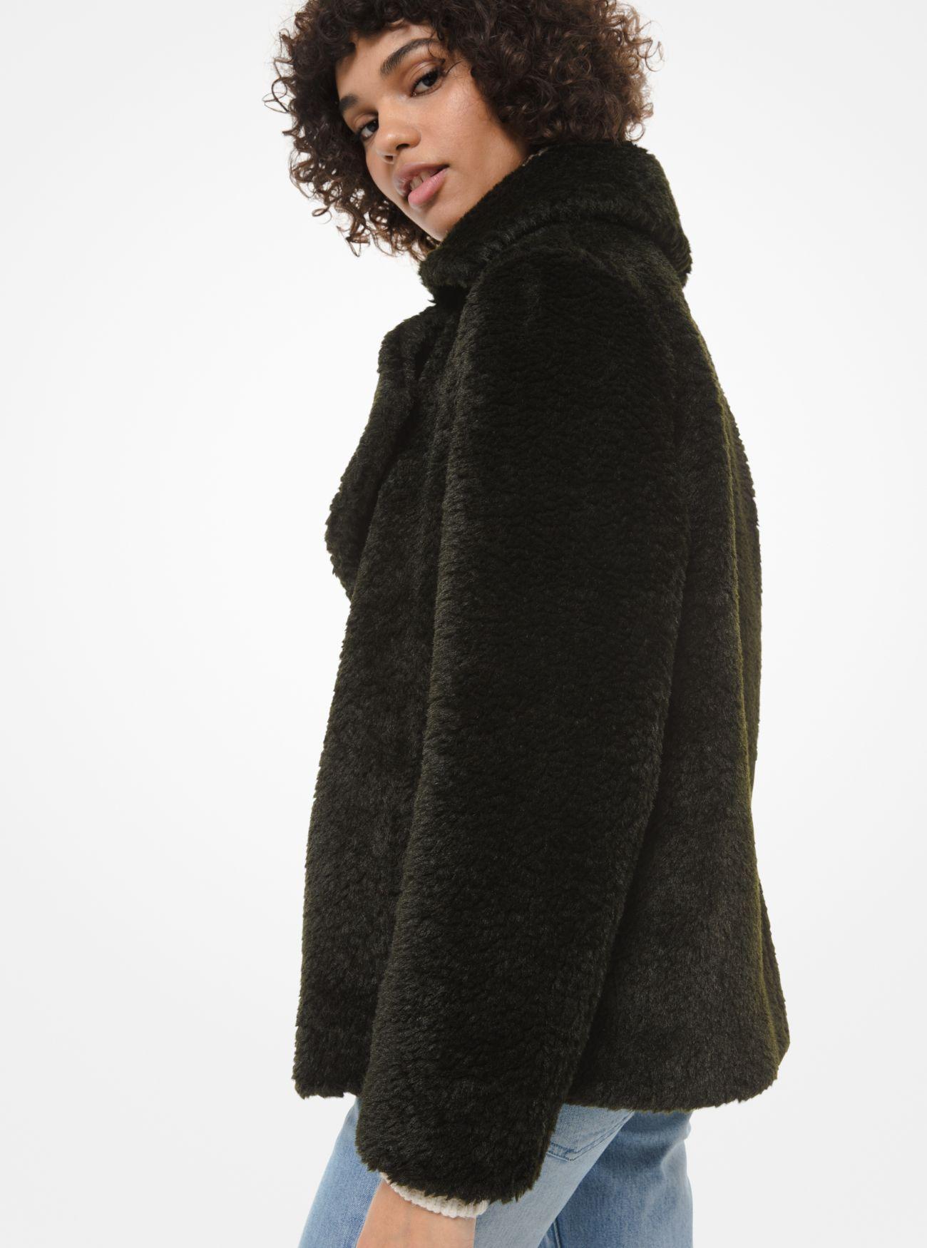 Michael Kors Denim Faux Fur Jacket in Green - Lyst
