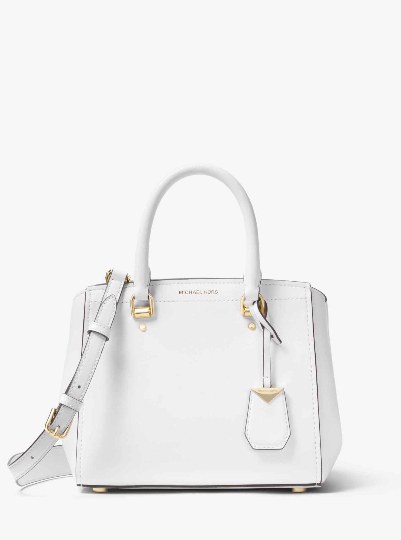 30ef71799100 ... pink b27e2 2cb70 low price michael kors white benning medium leather  satchel lyst. view fullscreen d96b6 9ca95 ...