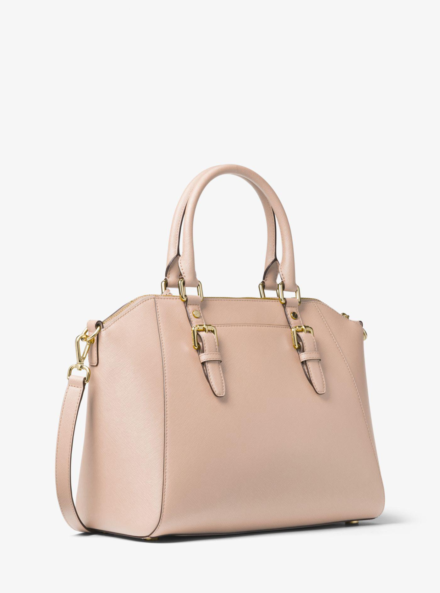 c776d18485d67 Lyst - Michael Kors Ciara Large Saffiano Leather Satchel in Pink