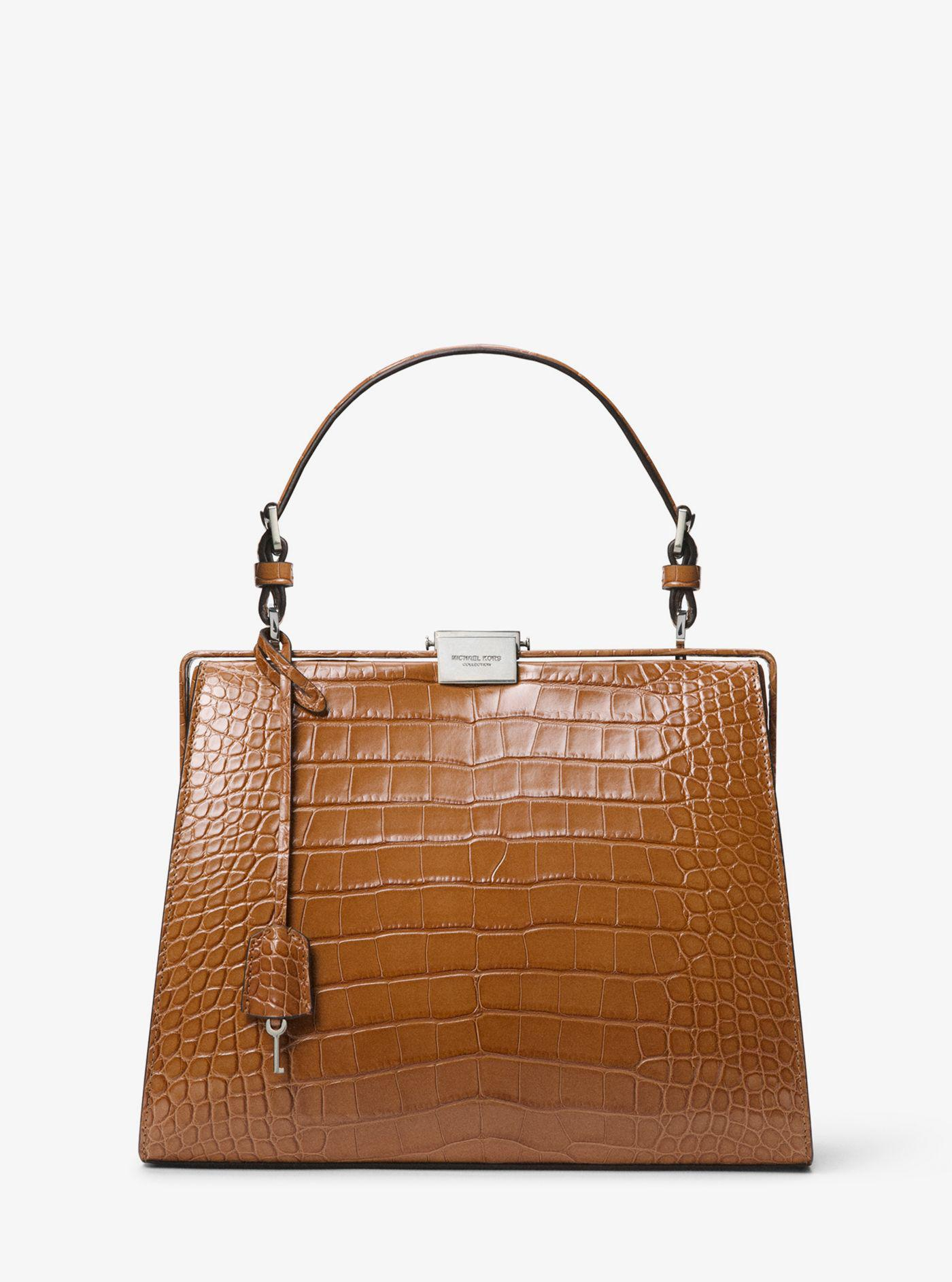 569936c8dc7a new arrivals lyst michael kors simone alligator top handle bag in brown  cae66 ebc79