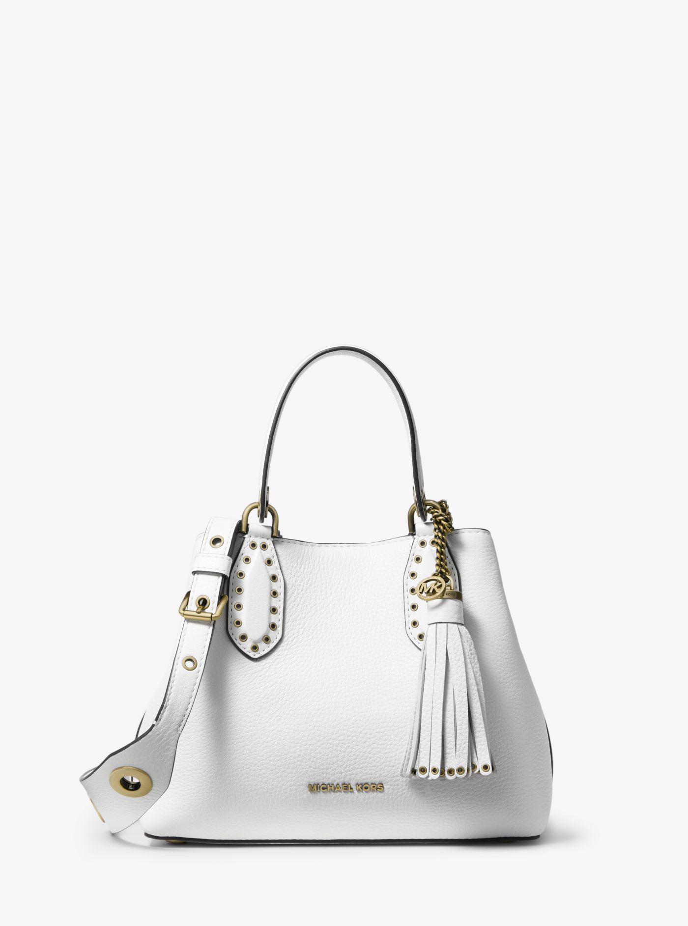 eb7206fdbf47 Michael Kors Brooklyn Small Pebbled Leather Satchel in White - Lyst