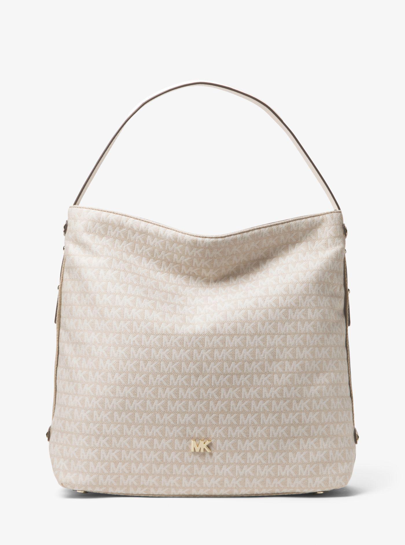 7e3ddcf085858f Michael Kors Griffin Large Logo Jacquard Shoulder Bag - Lyst