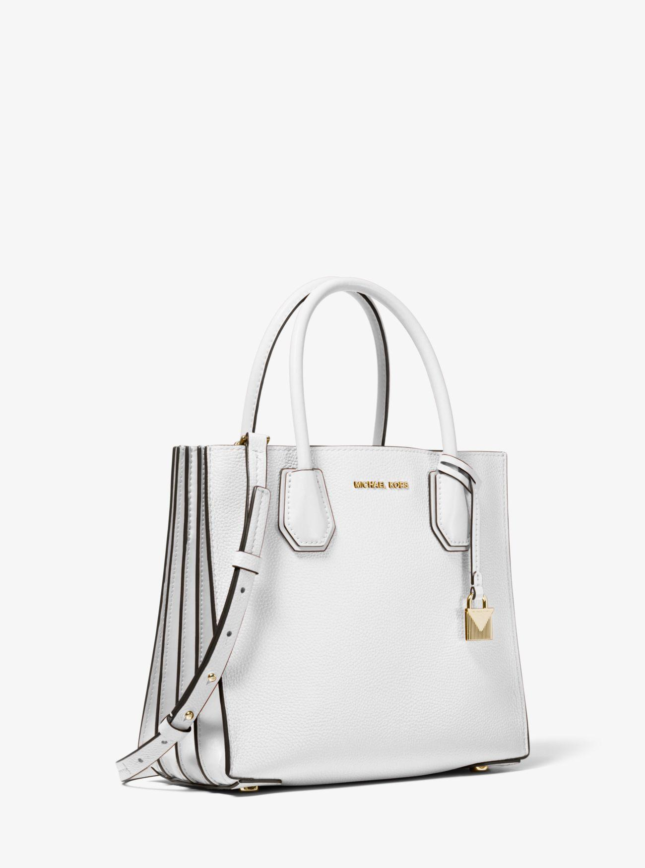d36dc150037f MICHAEL Michael Kors. Women's White Mercer Pebbled Leather Accordion  Crossbody