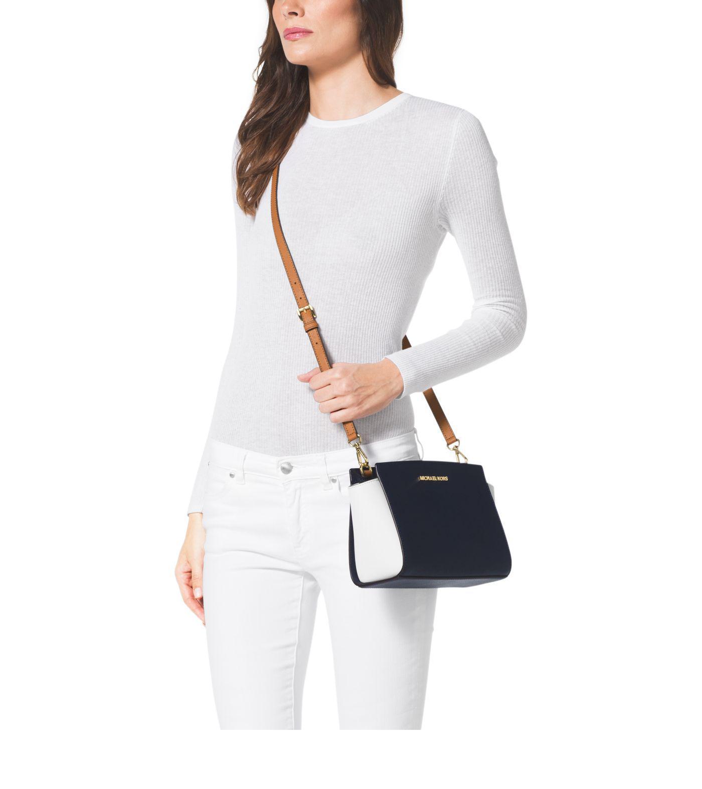 d72629ef133e5 Michael Kors Selma Medium Color-block Leather Crossbody Bag in Blue ...