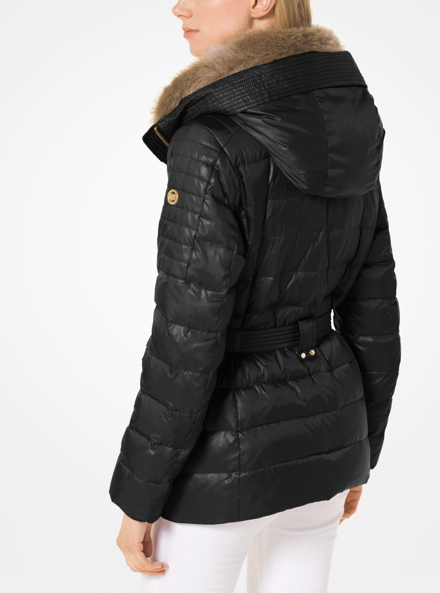 2734babca5de Lyst - Michael Kors Quilted Down And Faux Fur Puffer Jacket in Black