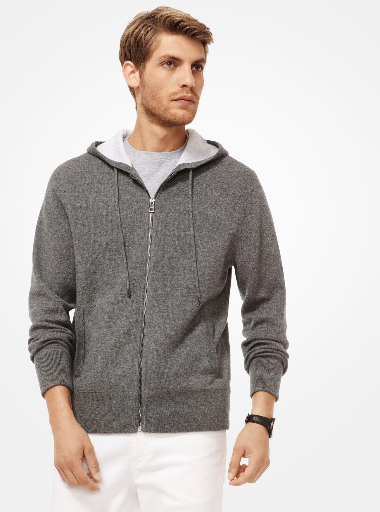 b5bae59d2a8fa1 Lyst - Michael Kors Cashmere-blend Zip-up Hoodie in Gray for Men