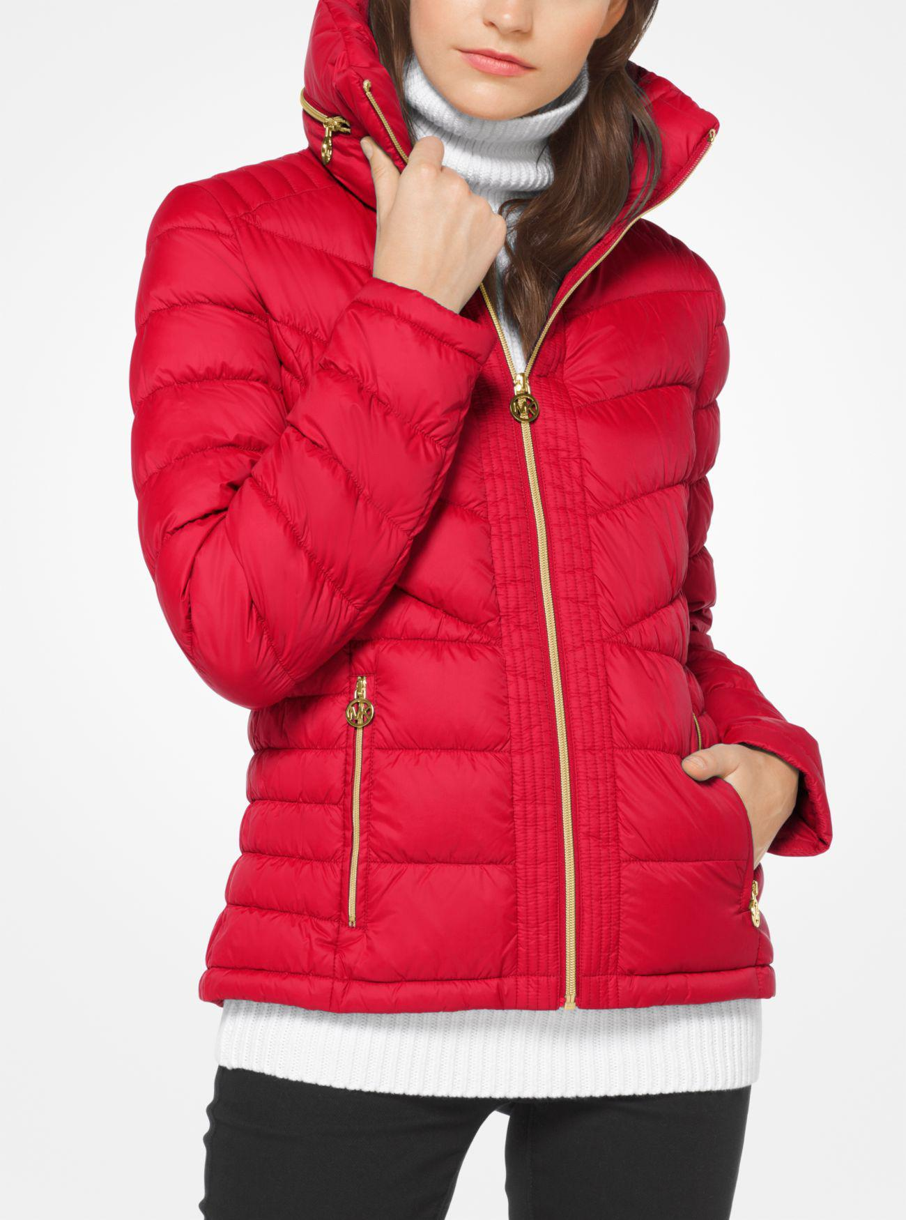 Michael Kors Synthetic Quilted Nylon Down Jacket In Red Lyst
