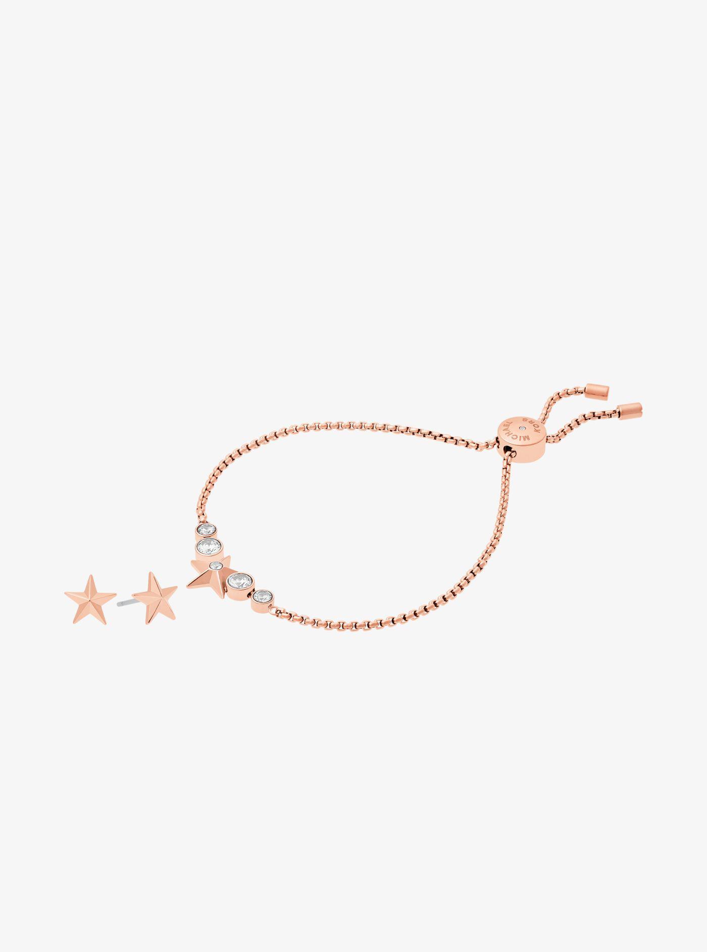 Michael Kors Gold-Tone Star Slider Bracelet And Earrings Set bpENC