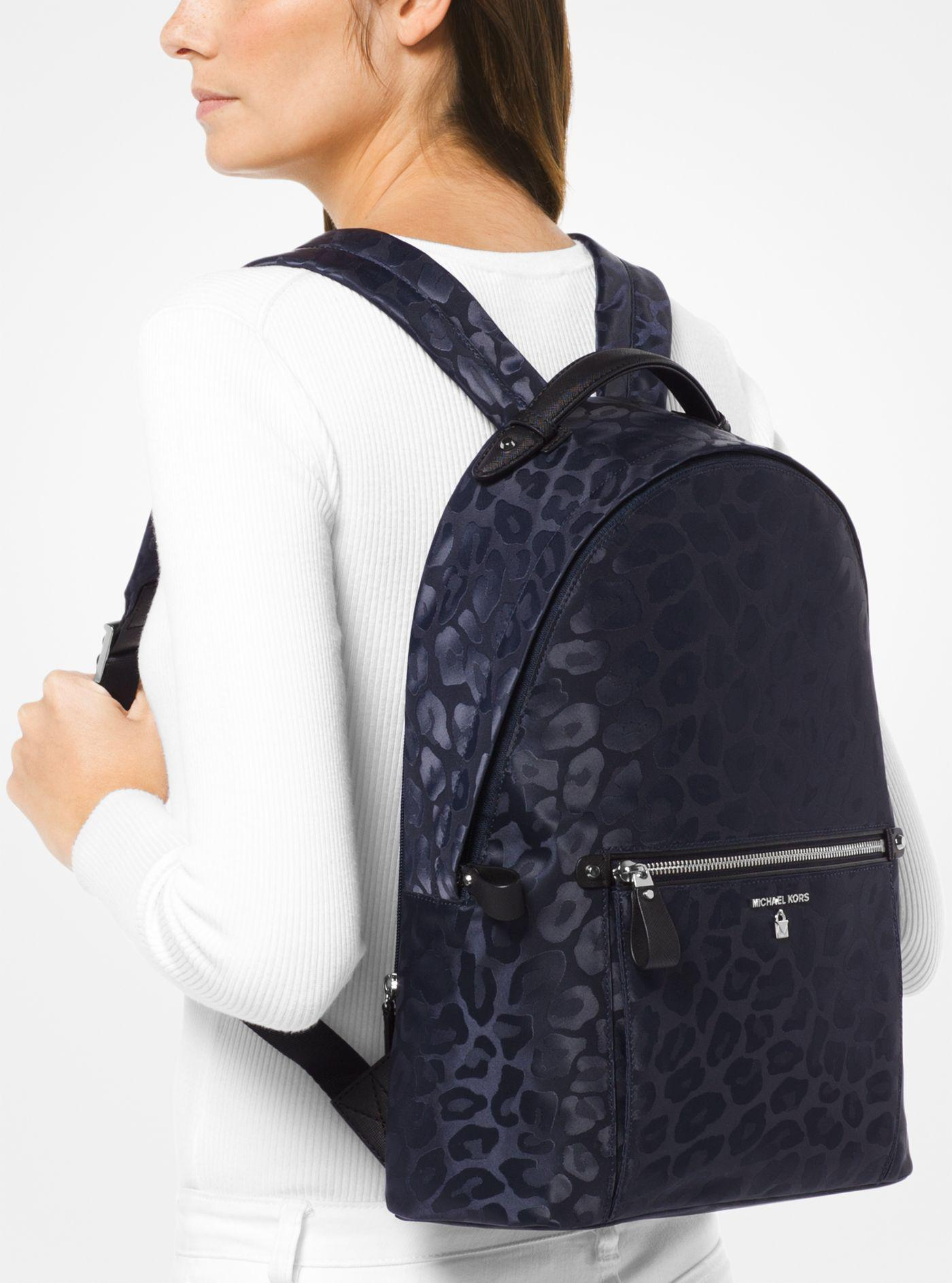 0727464b7574 Michael Kors Kelsey Large Leopard Nylon Backpack in Blue - Lyst
