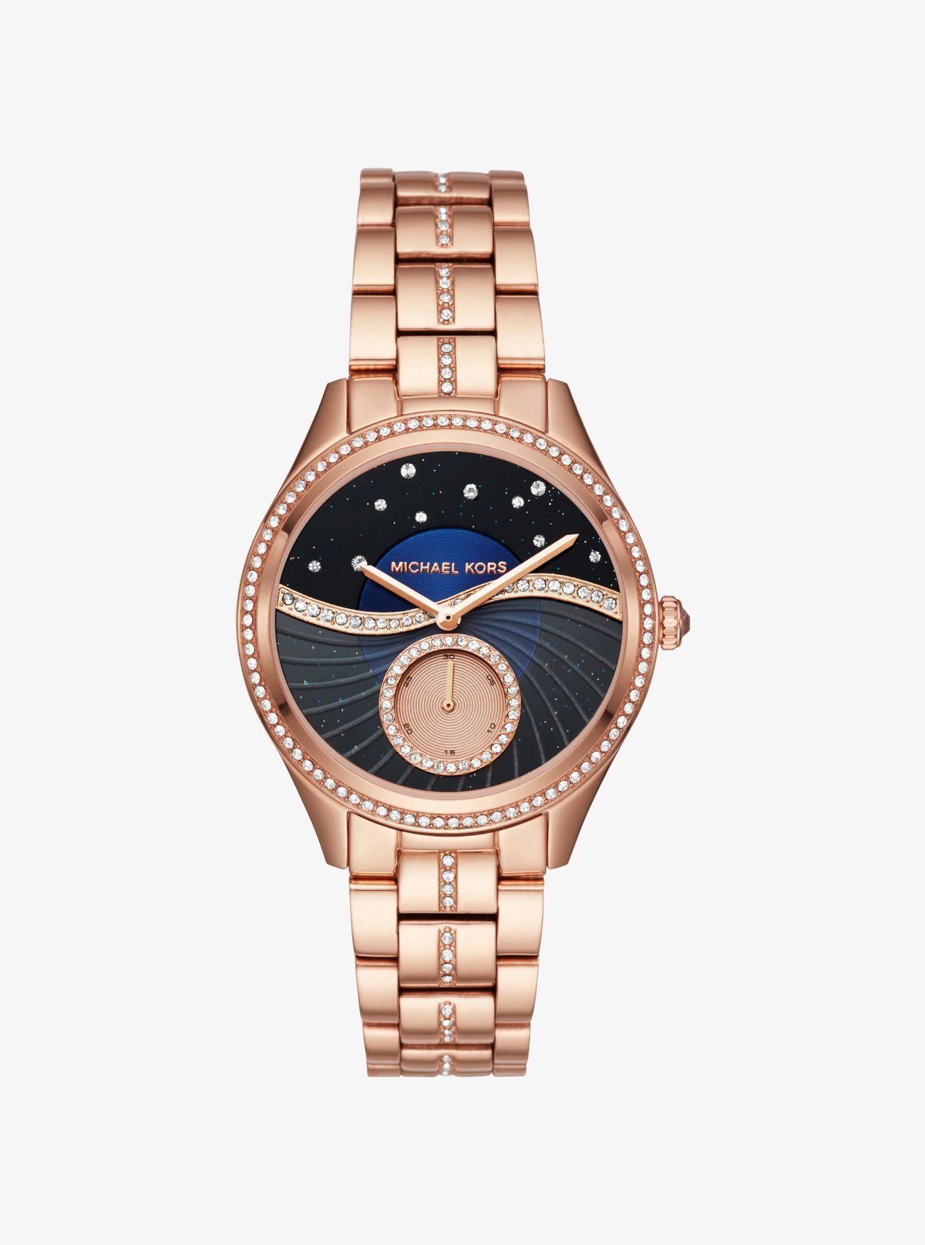 048c8165b2e3 Michael Kors Lauryn Celestial Pave Rose Gold-tone Watch - Lyst