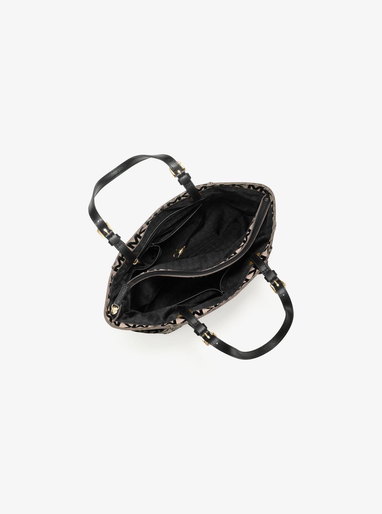 Michael Kors Leather Jet Set Logo Tote in Beige/Black/Black (Natural)