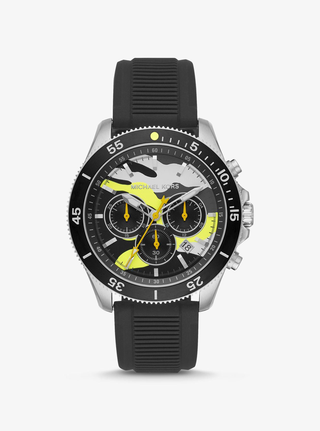 167cd721a1cb Michael Kors - Yellow Oversized Theroux Silver-tone And Silicone Watch for  Men - Lyst. View fullscreen