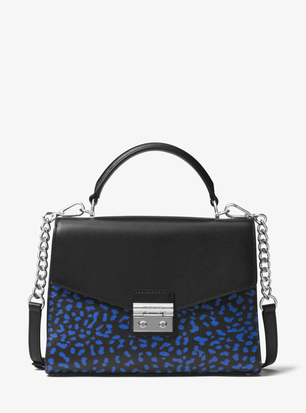 78489bf91689 ... Michael kors Sloan Leopard Leather Satchel in Black Lyst ...